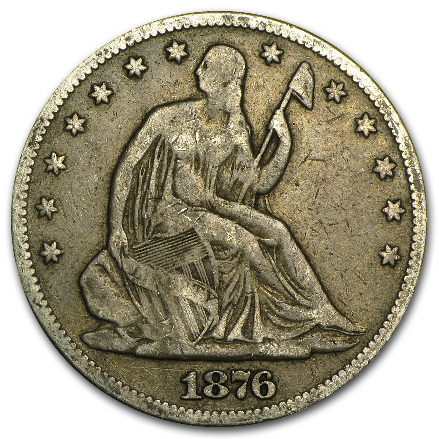 1876 Liberty Seated Half Dollar Fine