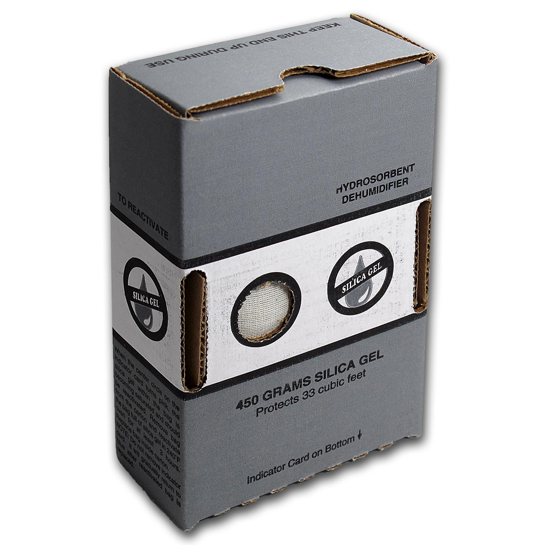 Silica Gel Dehumidifier Crystals 450 Gram Box Coin