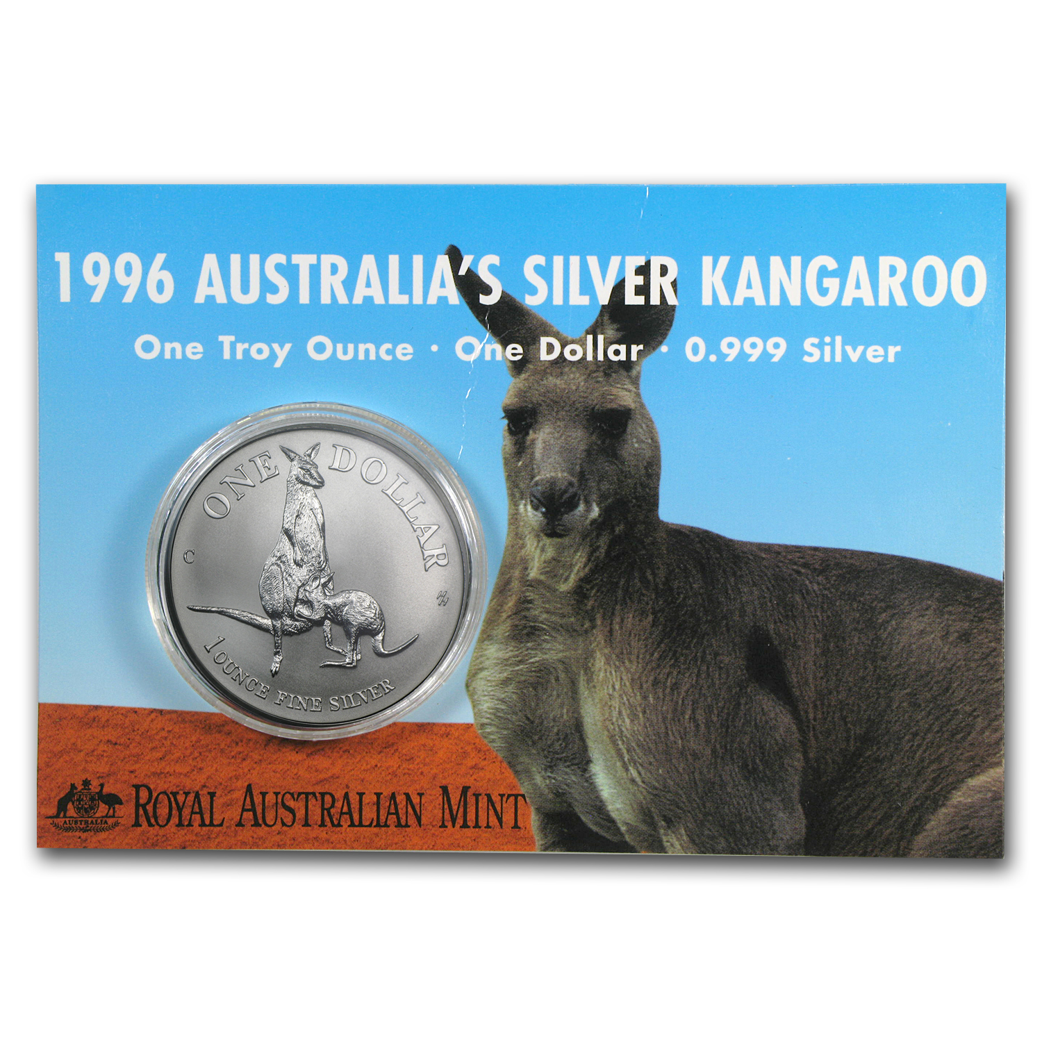 1996 Australia 1 oz Silver Kangaroo (In Display Card)