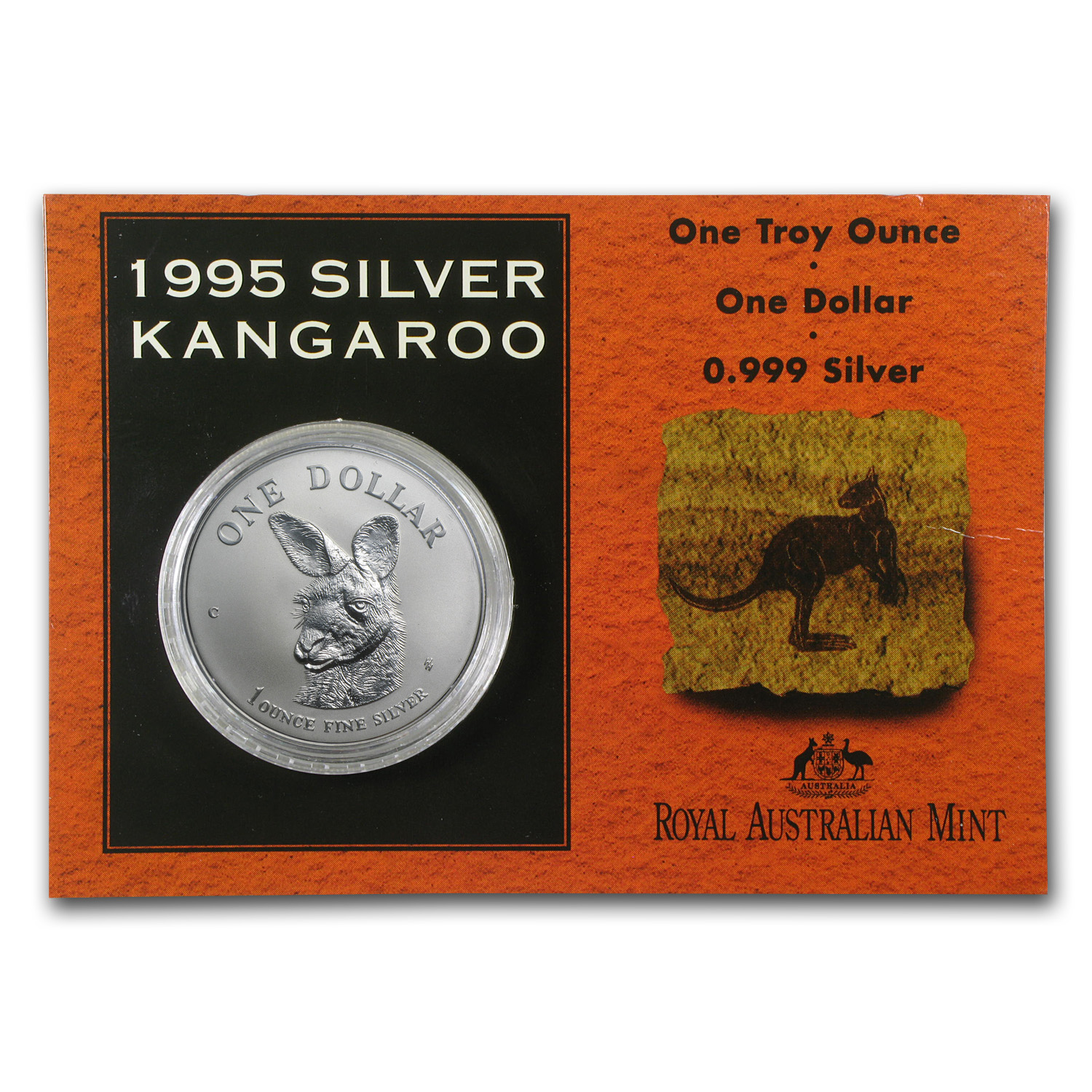 1995 Australia 1 oz Silver Kangaroo (In Display Card)