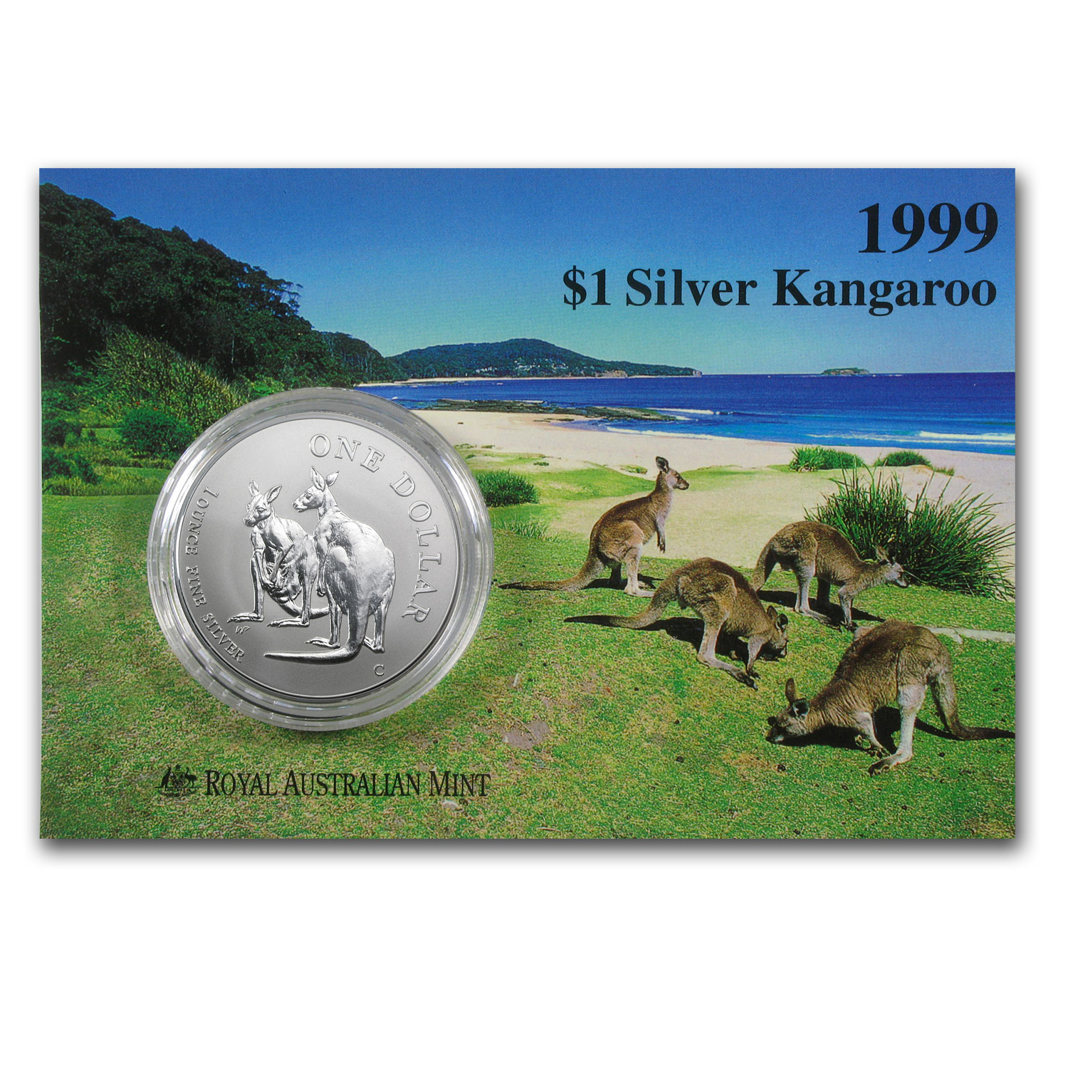 1999 Australia 1 oz Silver Kangaroo (In Display Card)