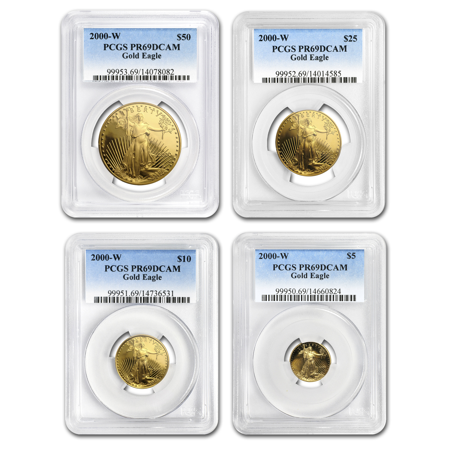 2000-W 4-Coin Proof Gold American Eagle Set PR-69 PCGS