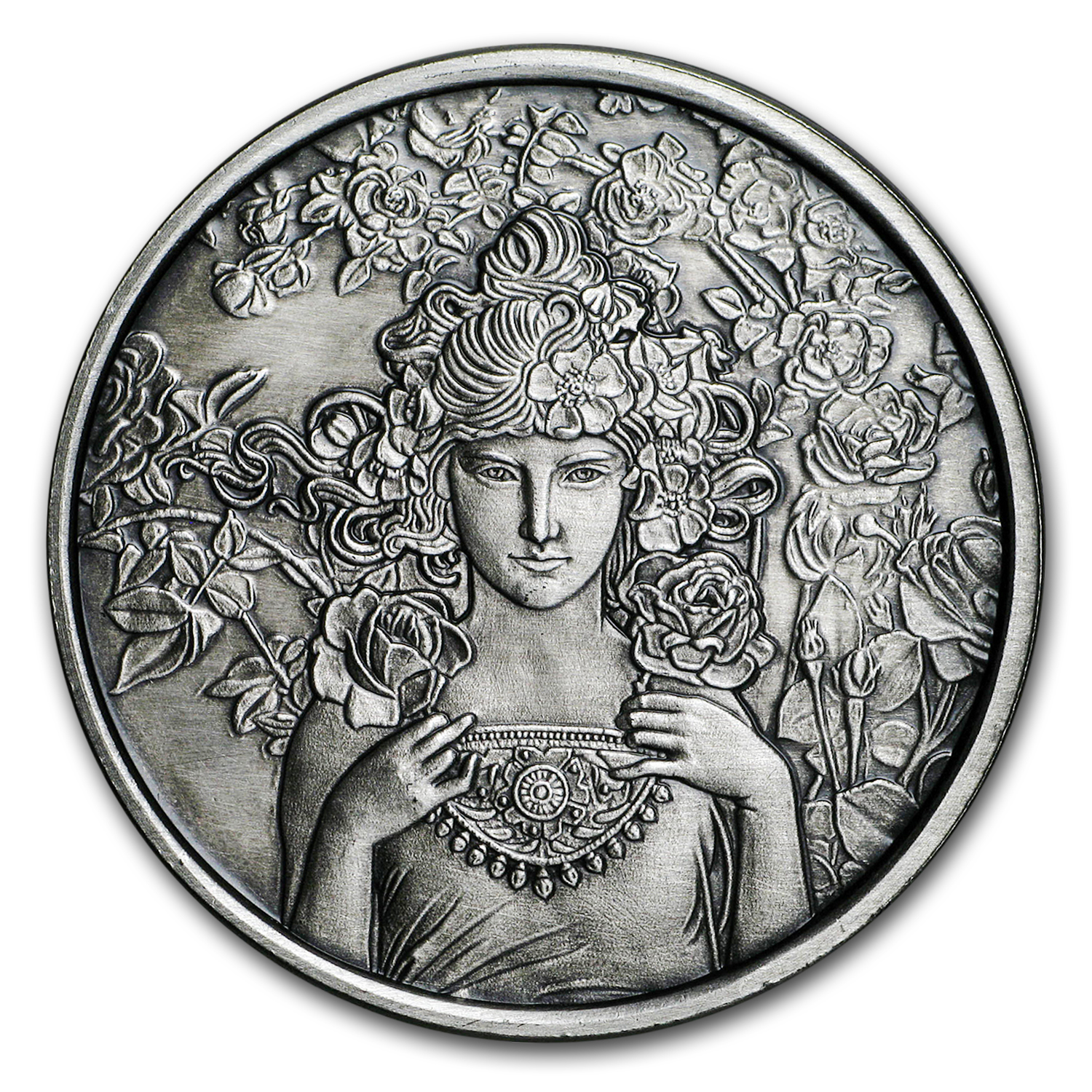 1 oz Silver Antique Round Mucha Collection (Rose)