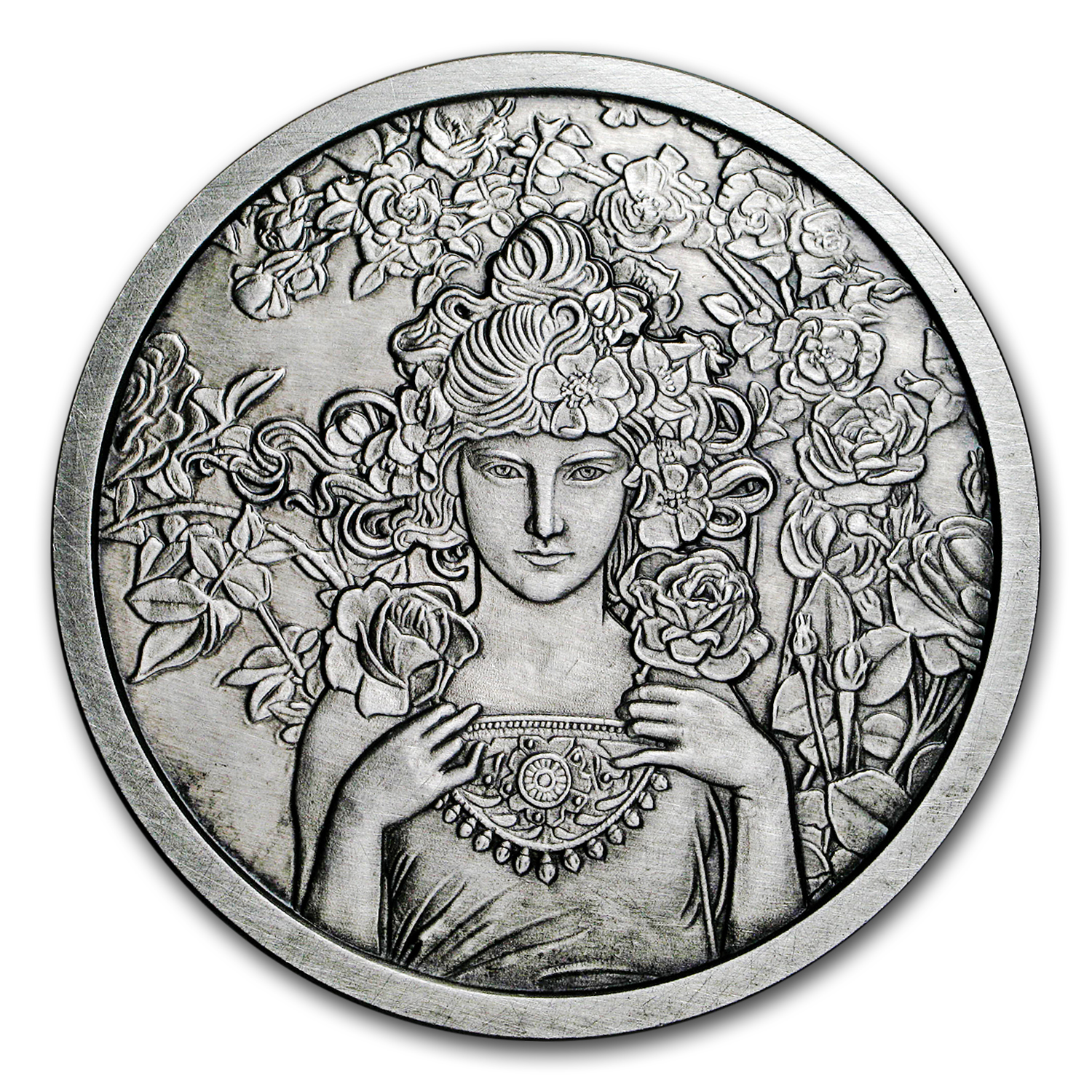 5 oz Silver Antique Round Mucha Collection (Rose)