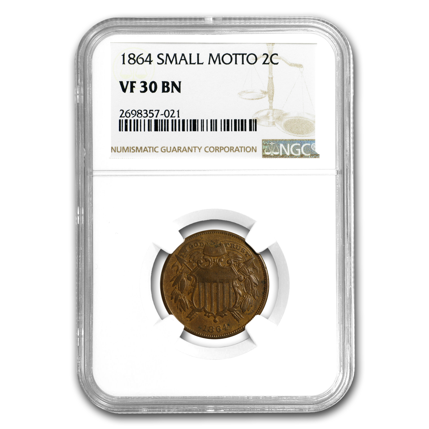 1864 Two Cent Piece Small Motto VF-30 NGC