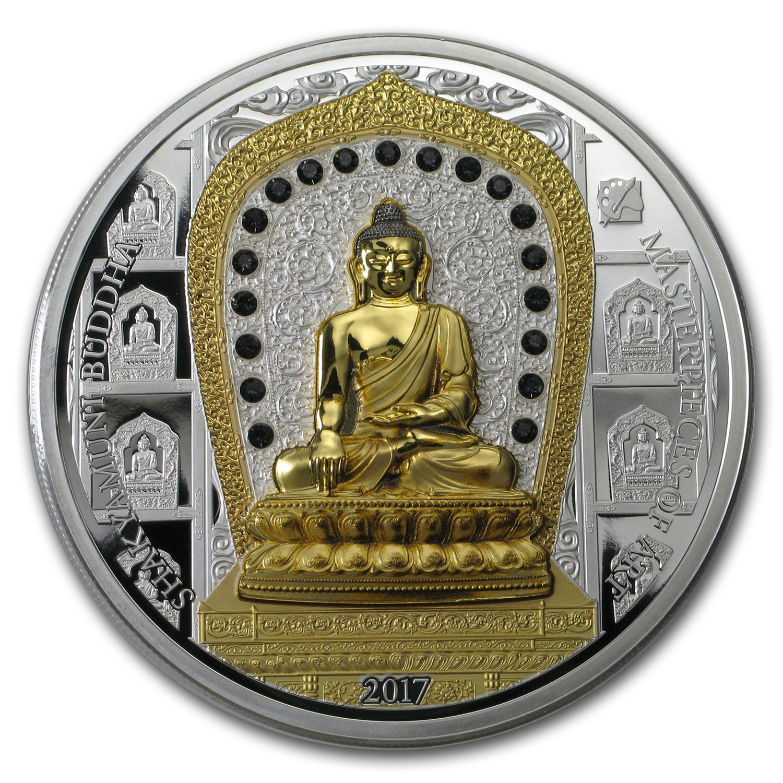 2017 Cook Islands Gold Silver Shakyamuni Buddha Proof