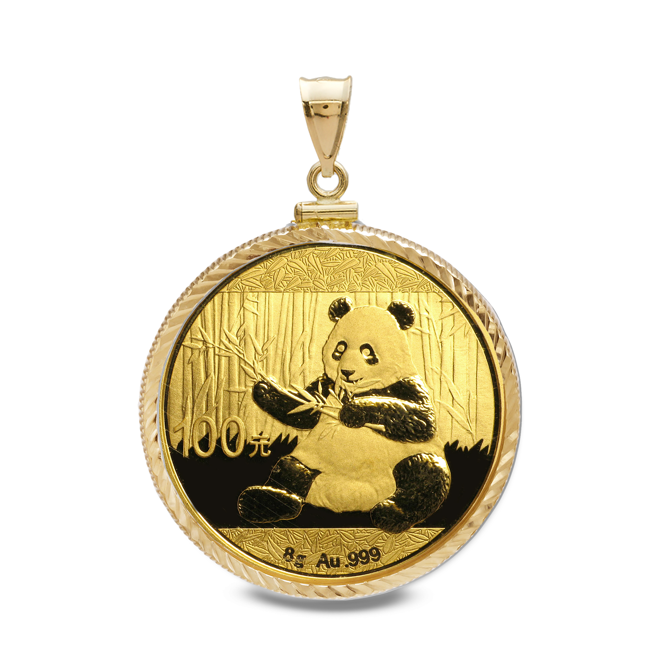 2017 8 gram Gold Panda Pendant (Diamond-Screw Top Bezel)