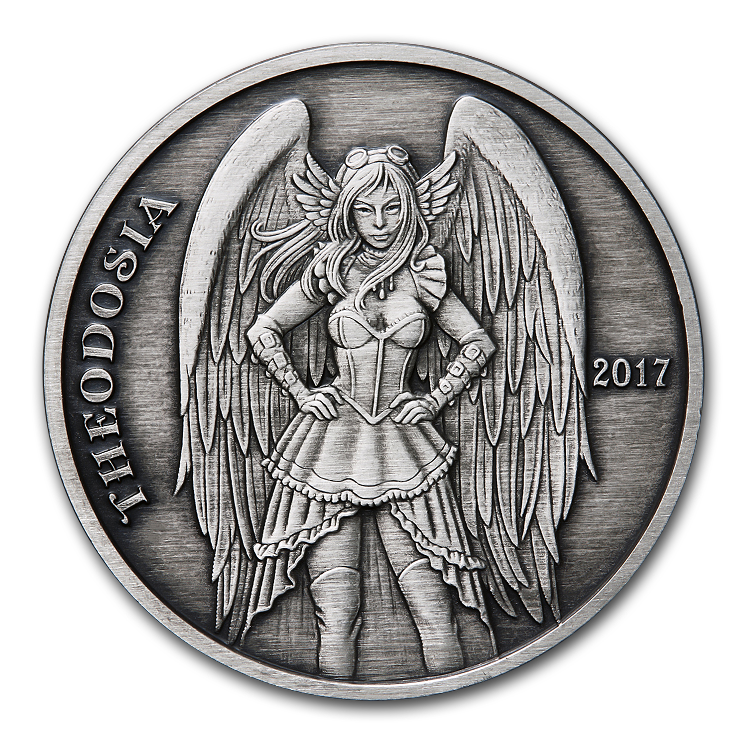 5 oz Silver Antique Round - Angels & Demons Series (Theodosia)