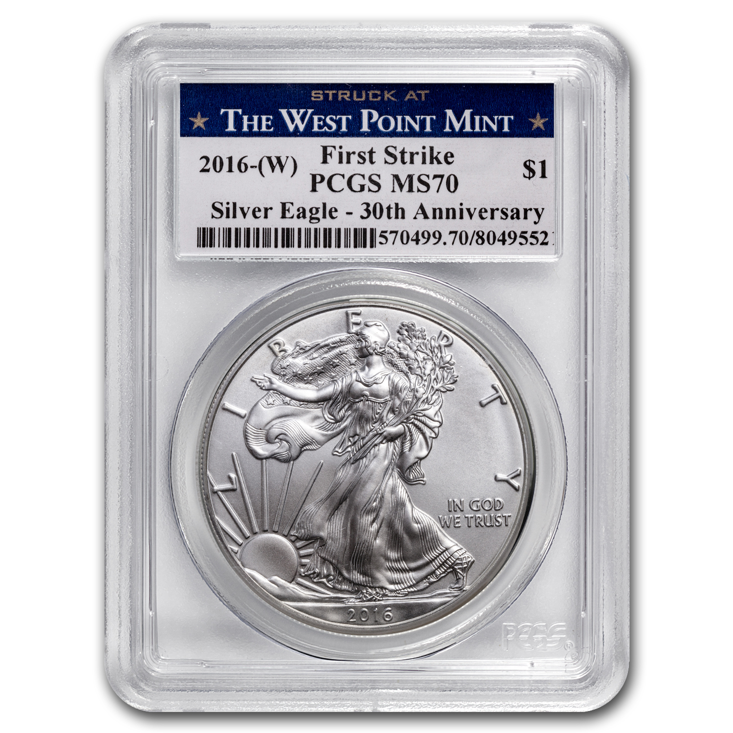 2016 (W) Silver American Eagle MS-70 PCGS (First Strike)
