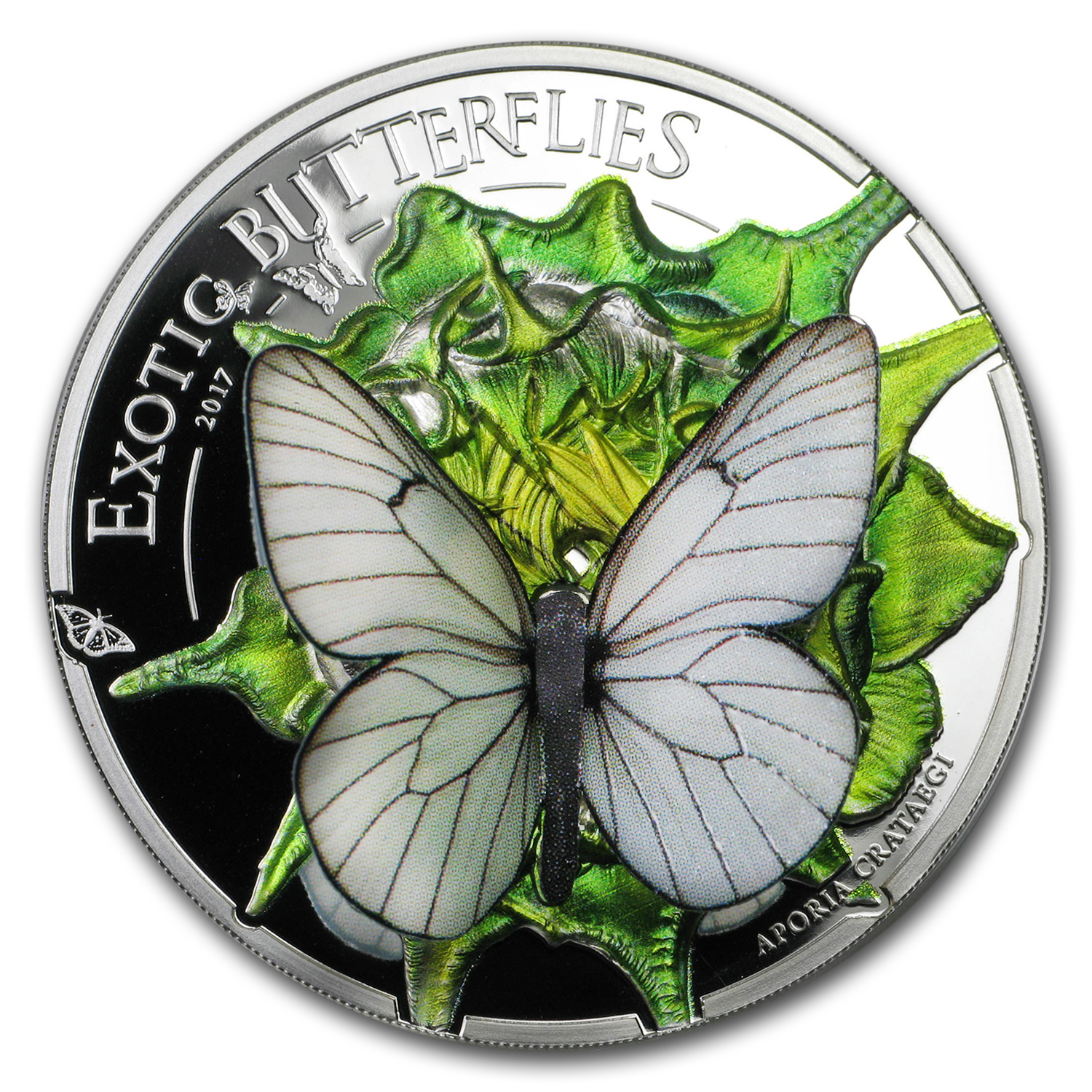 2017 Mongolia Silver 3D Exotic Butterflies Proof
