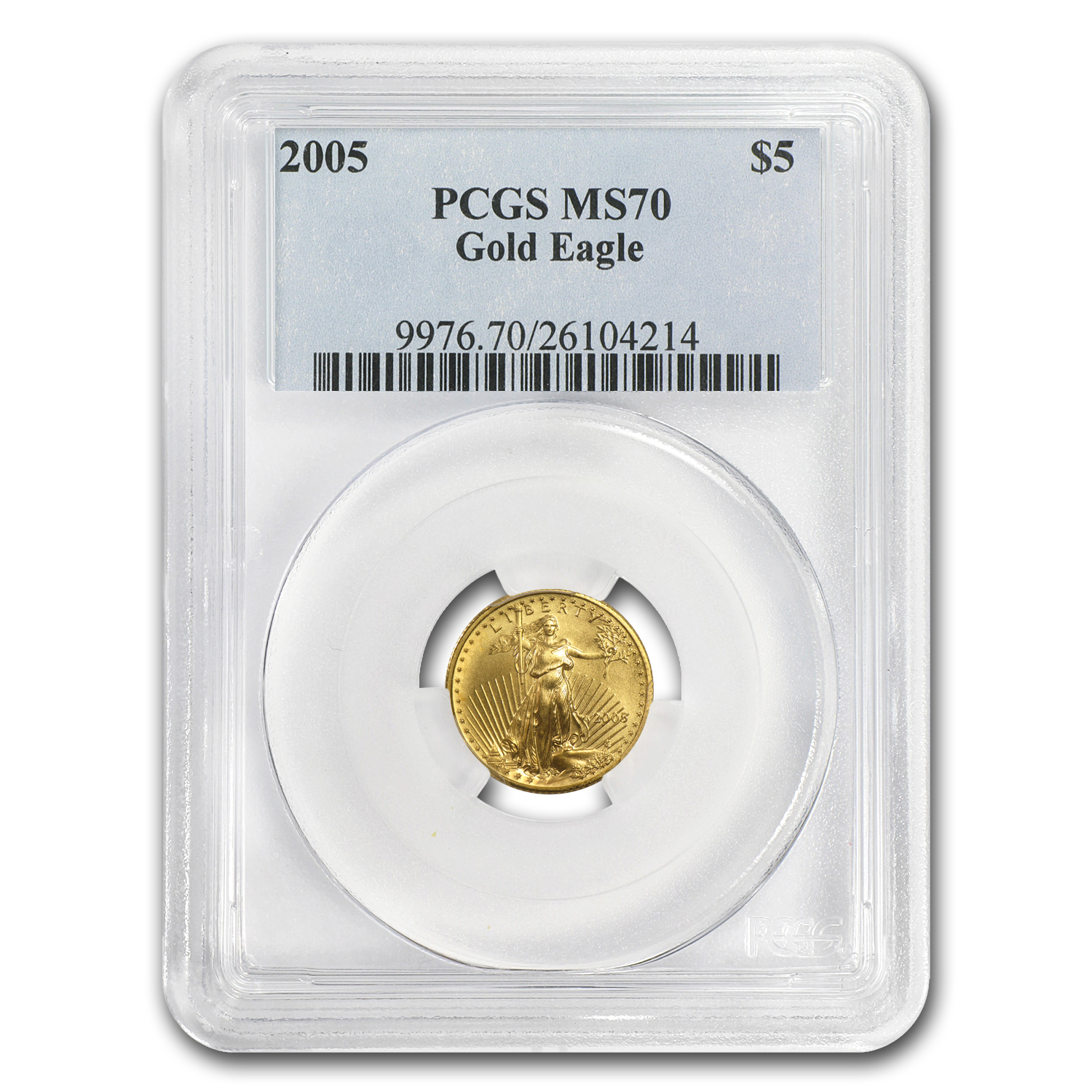 2005 1/10 oz Gold American Eagle MS-70 PCGS