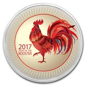 1 oz Silver Colorized Round - APMEX (Golden Lunar Rooster - 2017)
