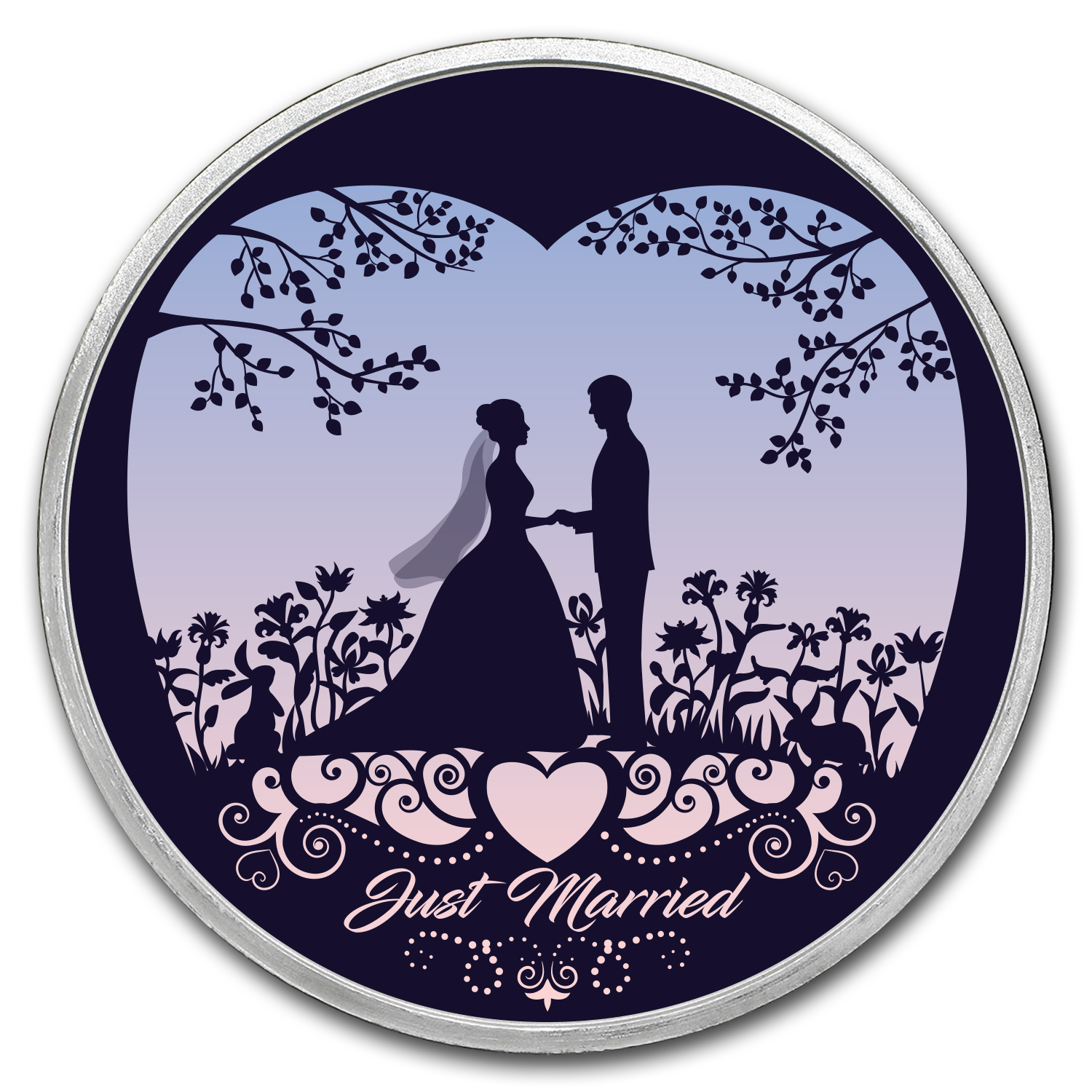 Buy 1 Oz Silver Colorized Round Just Married Silhouette