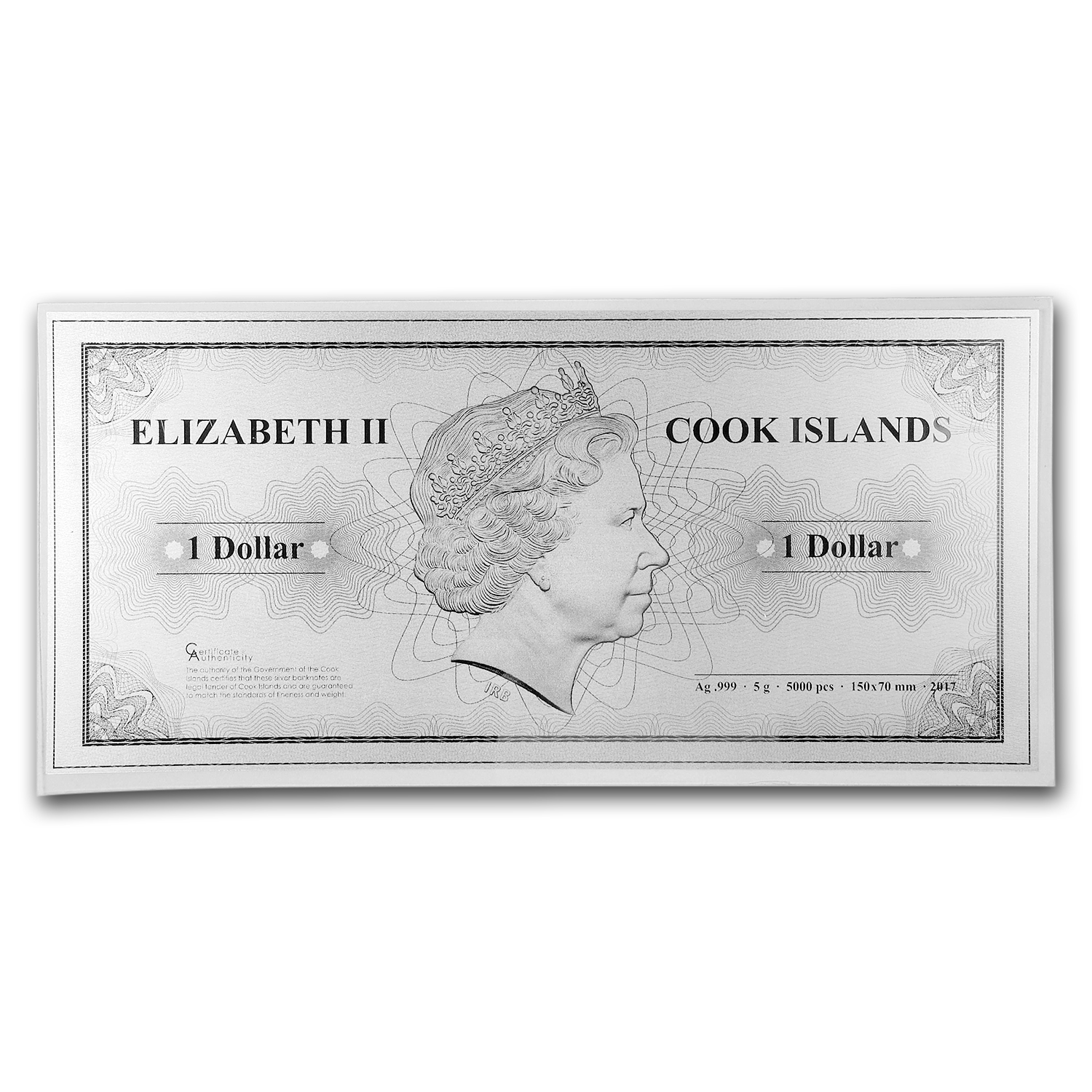 2017 Cook Islands Skyline Dollars Foil Silver Note (New York)