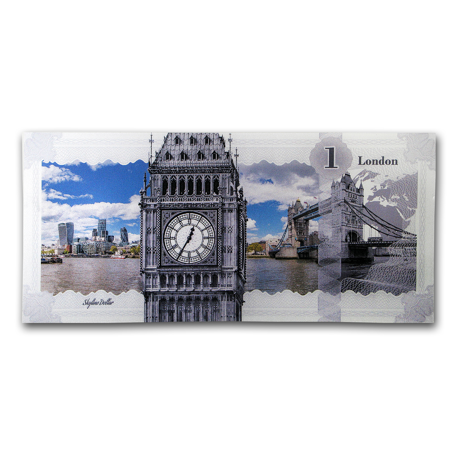 2017 Cook Islands Skyline Dollars Foil Silver Note (London)