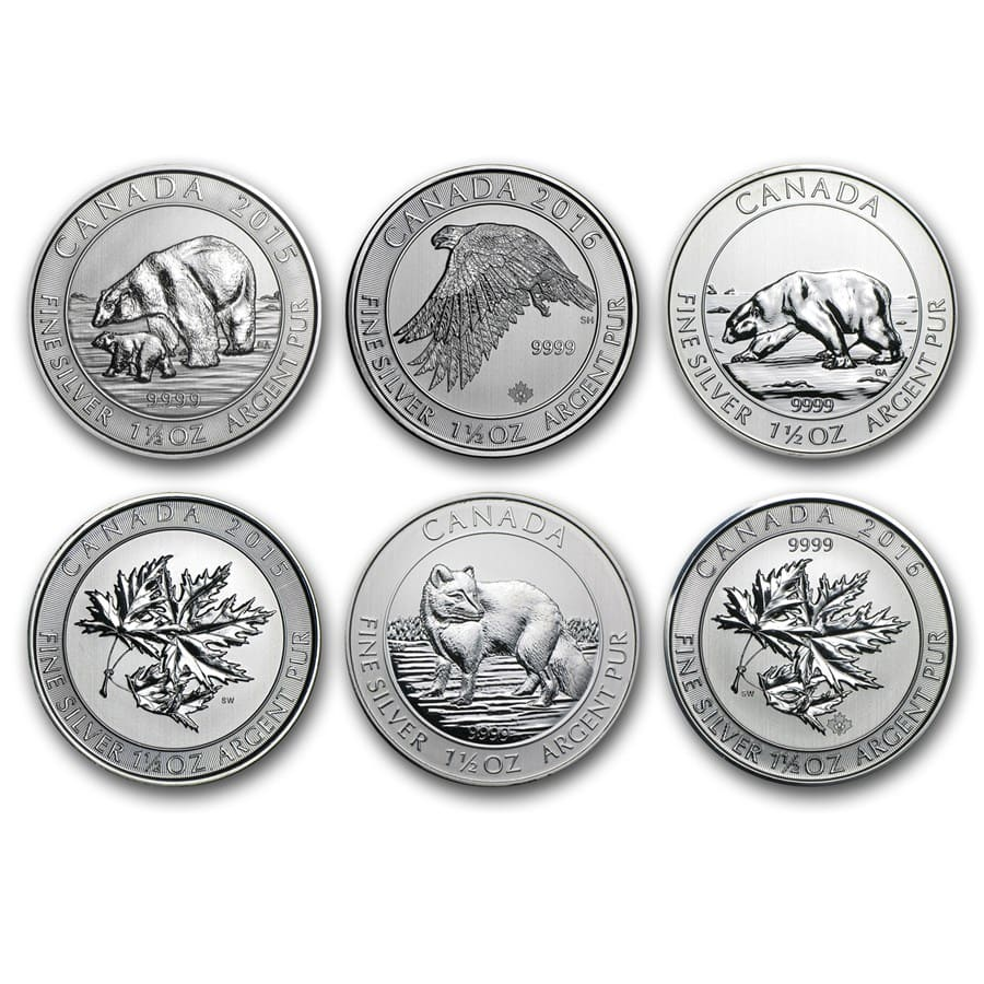 Canada 1.5 oz Silver $8 Wildlife Random Year (Spotted/Abraised)