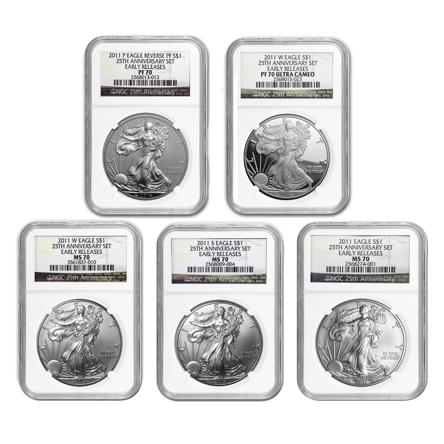 2011 5-Coin Silver Eagle Set MS/PF-70 NGC (25th Anniv, Retro)
