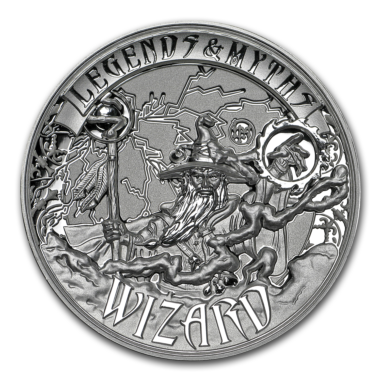 2017 Solomon Islands 2 oz Silver Rev Prf Legends & Myths: Wizard