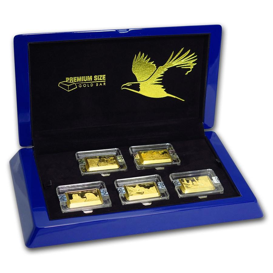 2016 fiji 5 grams gold american eagle 30th anniv 5 coin bar set mdm gold products apmex. Black Bedroom Furniture Sets. Home Design Ideas
