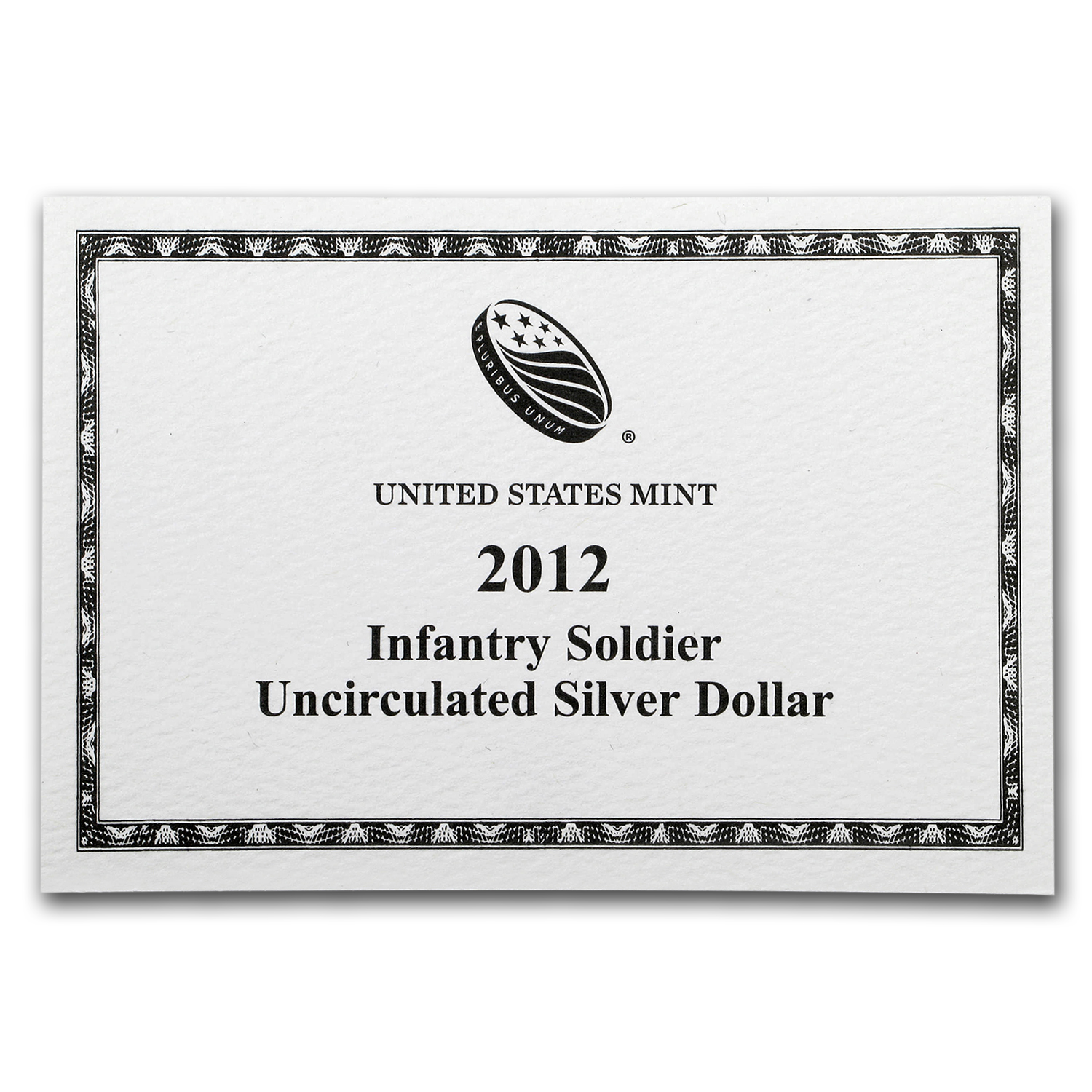 OGP Box & COA - 2012-W Infantry Soldier $1 Silver Commem BU