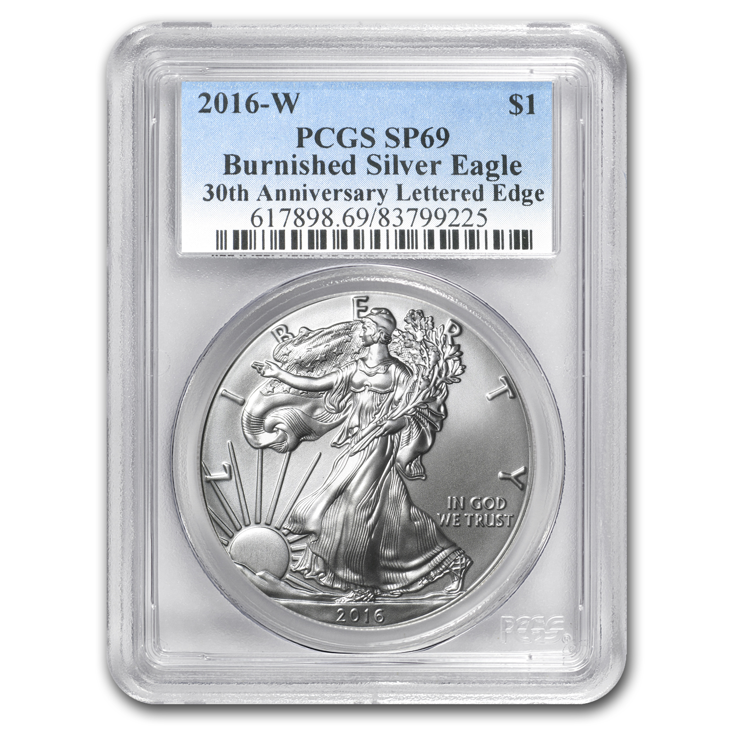 2016-W Burnished Silver American Eagle SP-69 PCGS