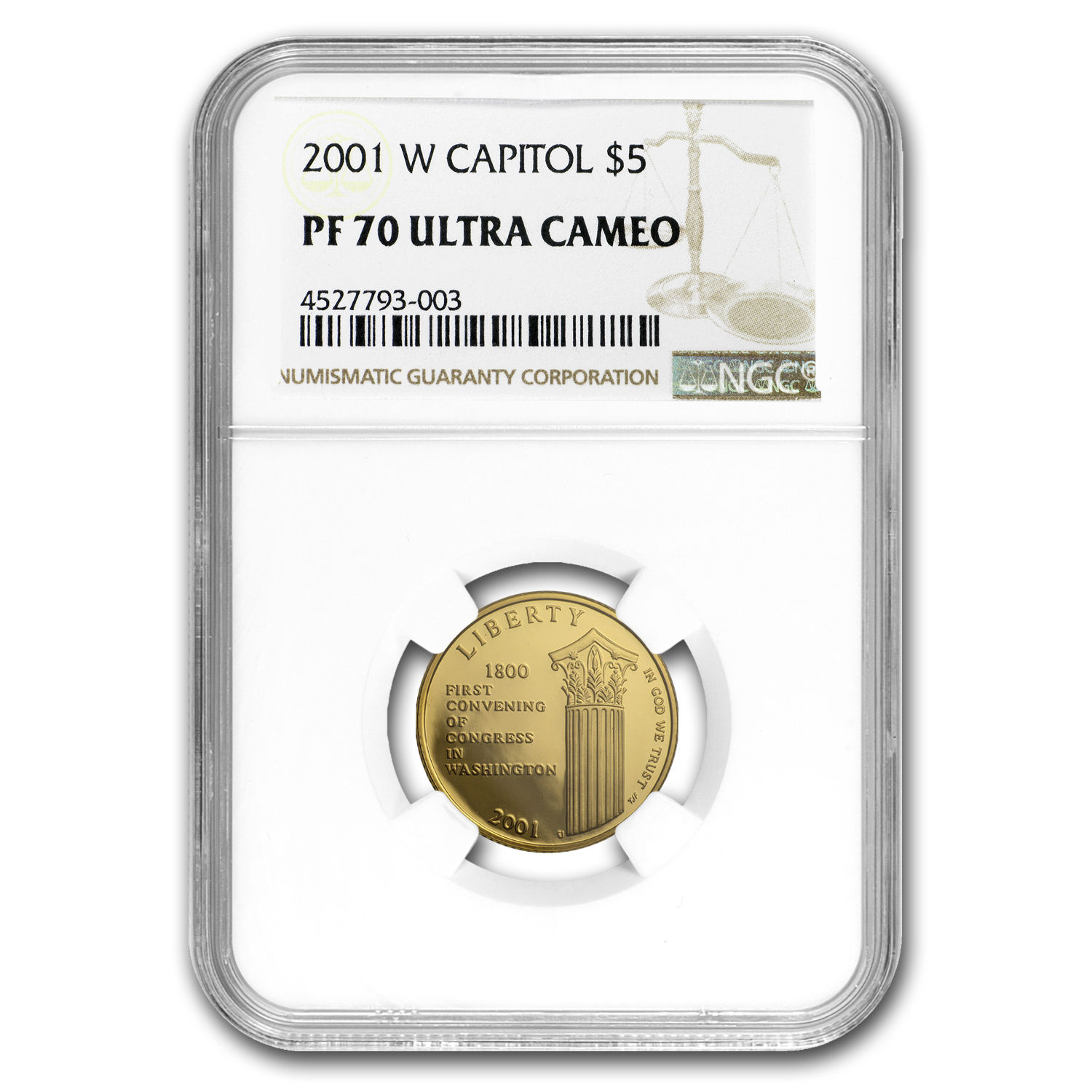 2001-W Gold $5 Commem Capitol Visitor Center PF-70 NGC