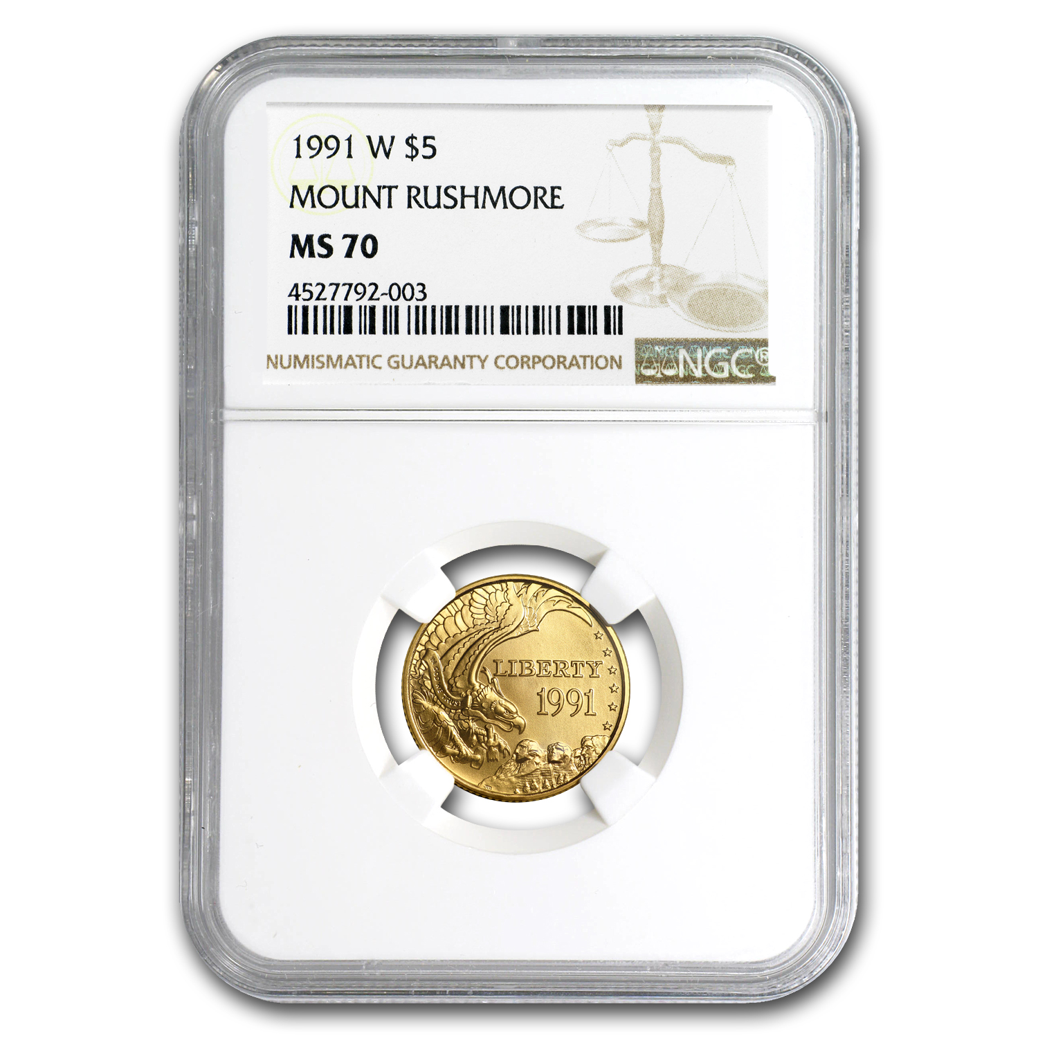 1991-W Gold $5 Commem Mount Rushmore MS-70 NGC