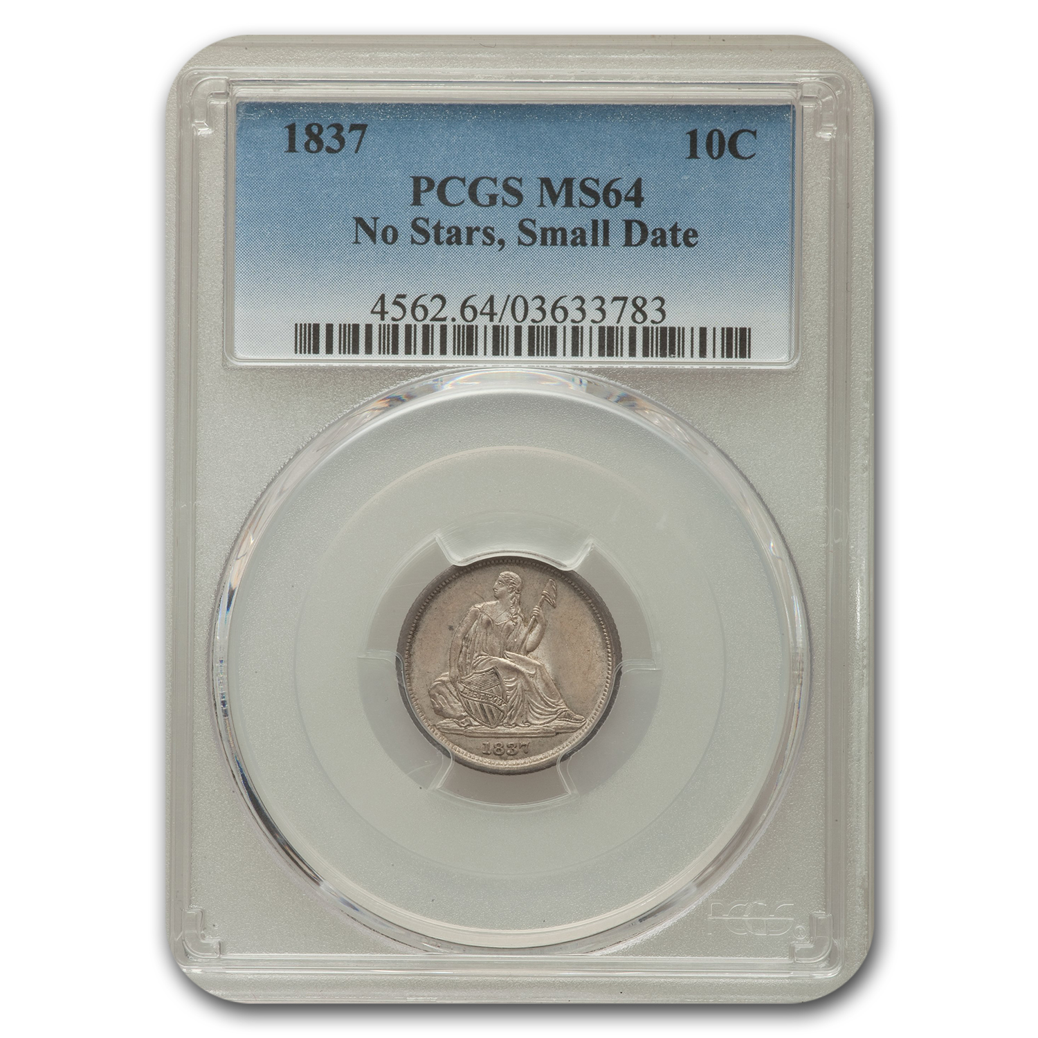 1837 Liberty Seated Dime No Stars, Small Date MS-64 PCGS
