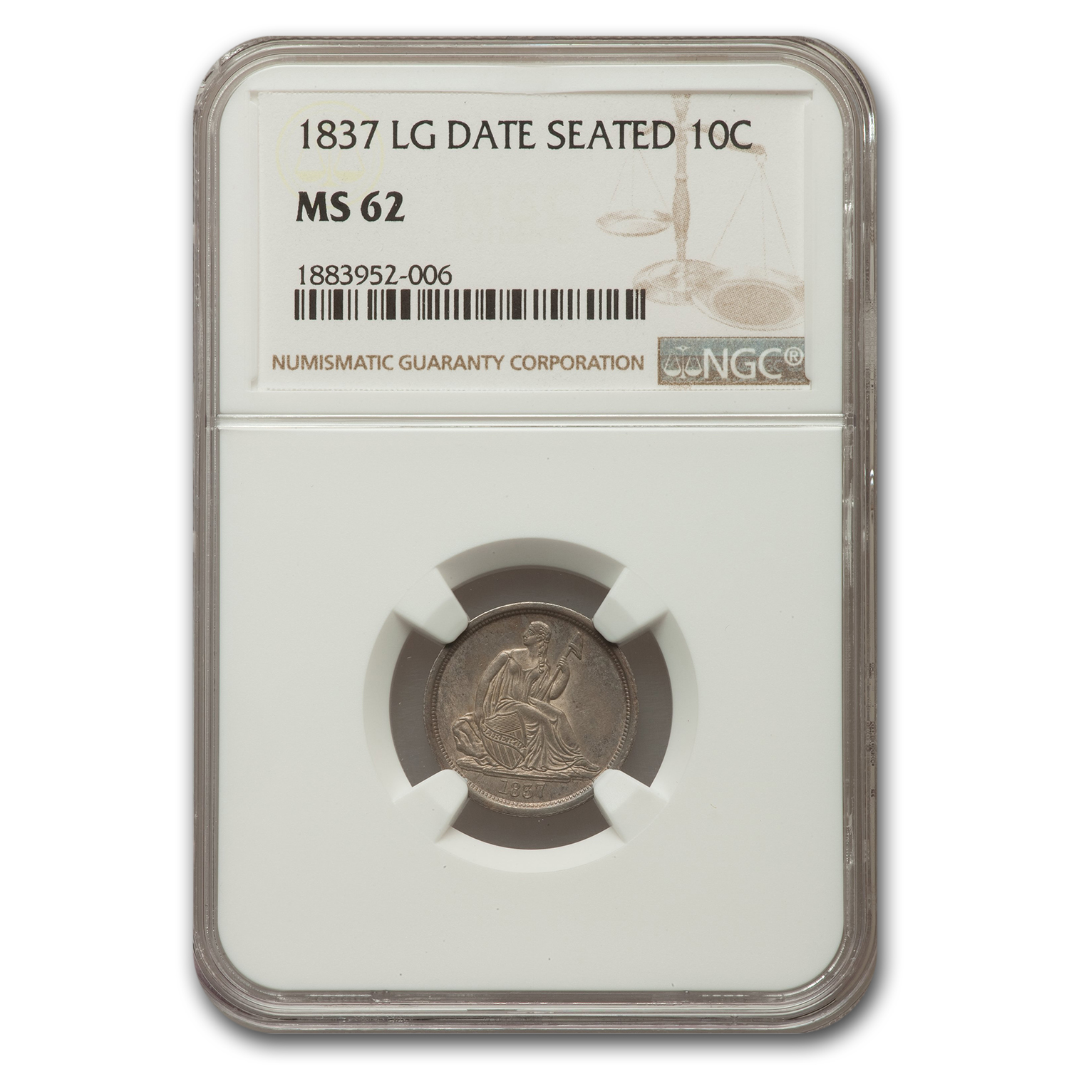 1837 Liberty Seated Dime MS-62 NGC (Lg Date)