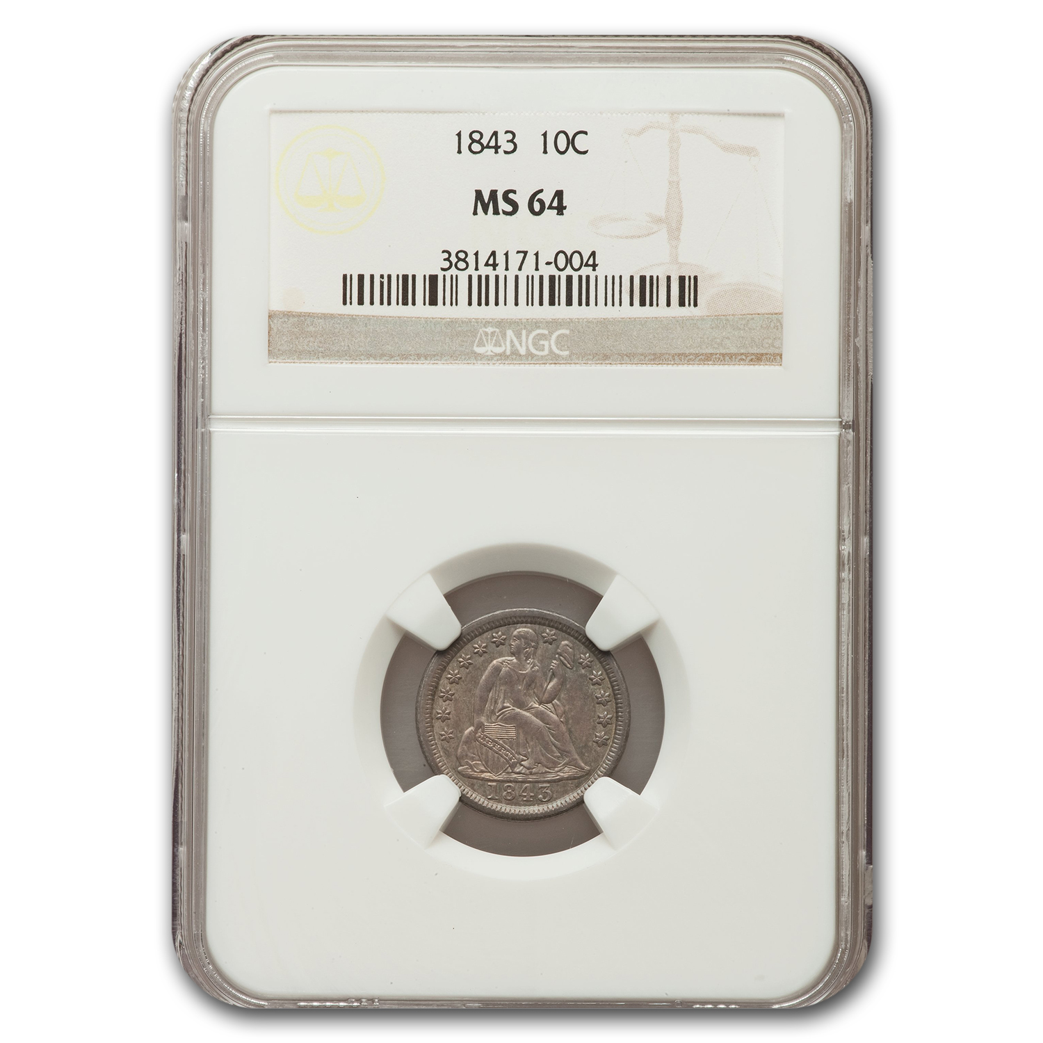 1843 Liberty Seated Dime MS-64 NGC