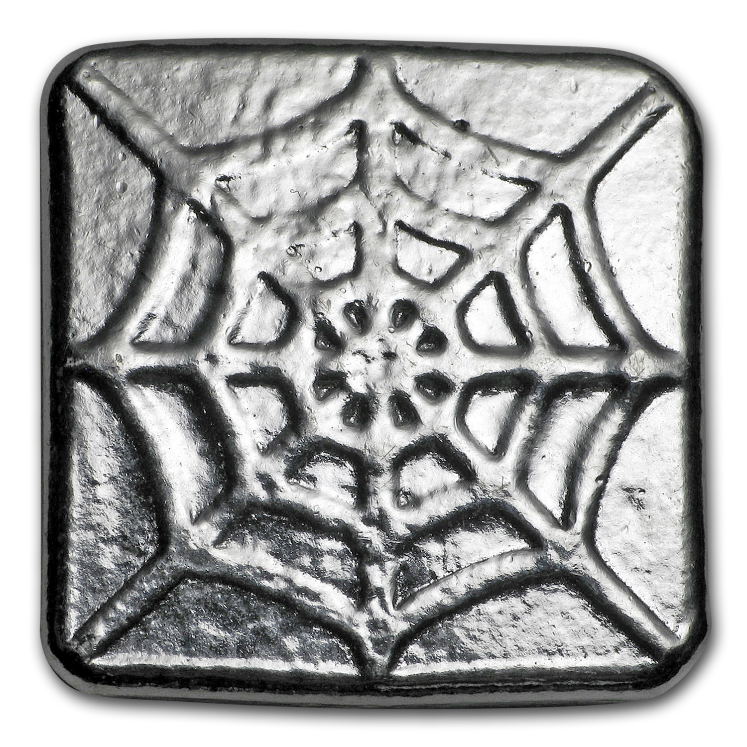 1 oz Silver Square - Yeager Poured Silver (Spiderweb)