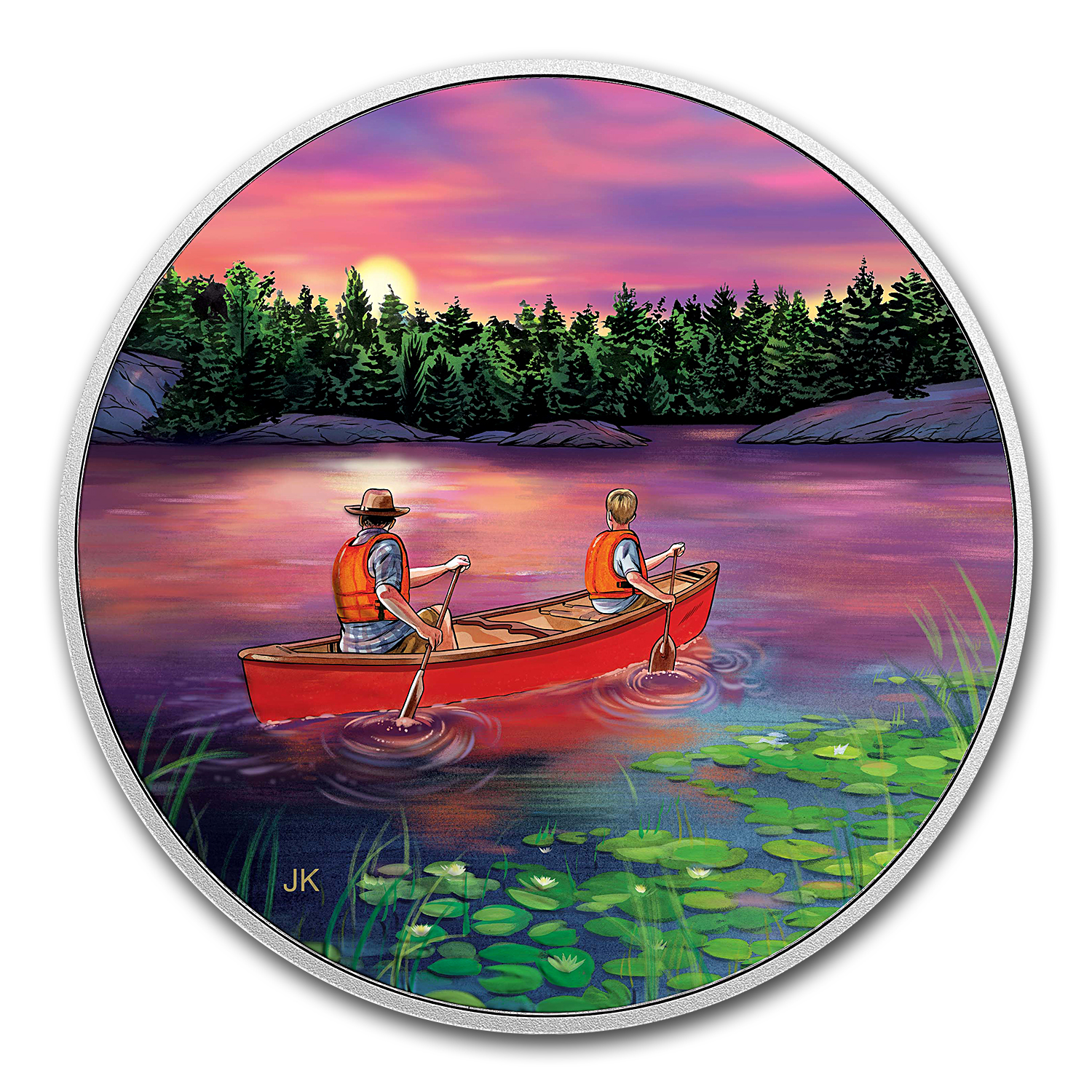 2017 RCM 3/4 oz Ag $15 Great Canadian Outdoors: Sunset Canoeing