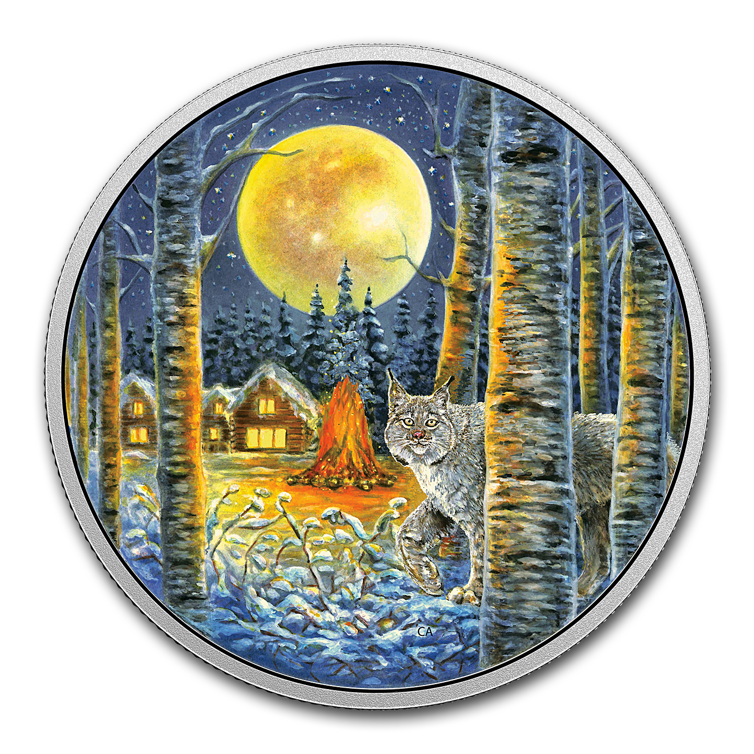 2017 Canada 2 oz Silver $30 Animals in the Moonlight: Lynx