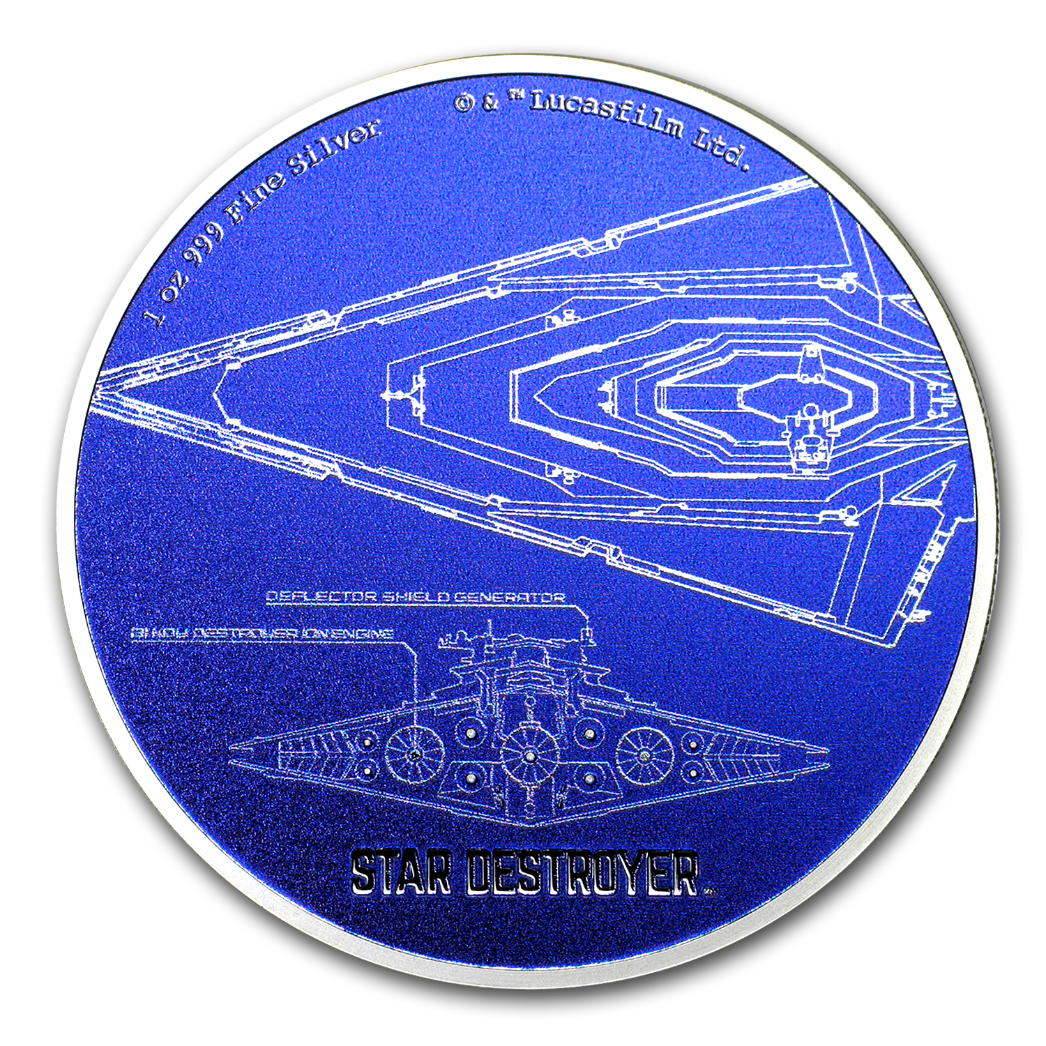 2017 Niue 1 oz Silver $2 Star Wars Ships: Star Destroyer