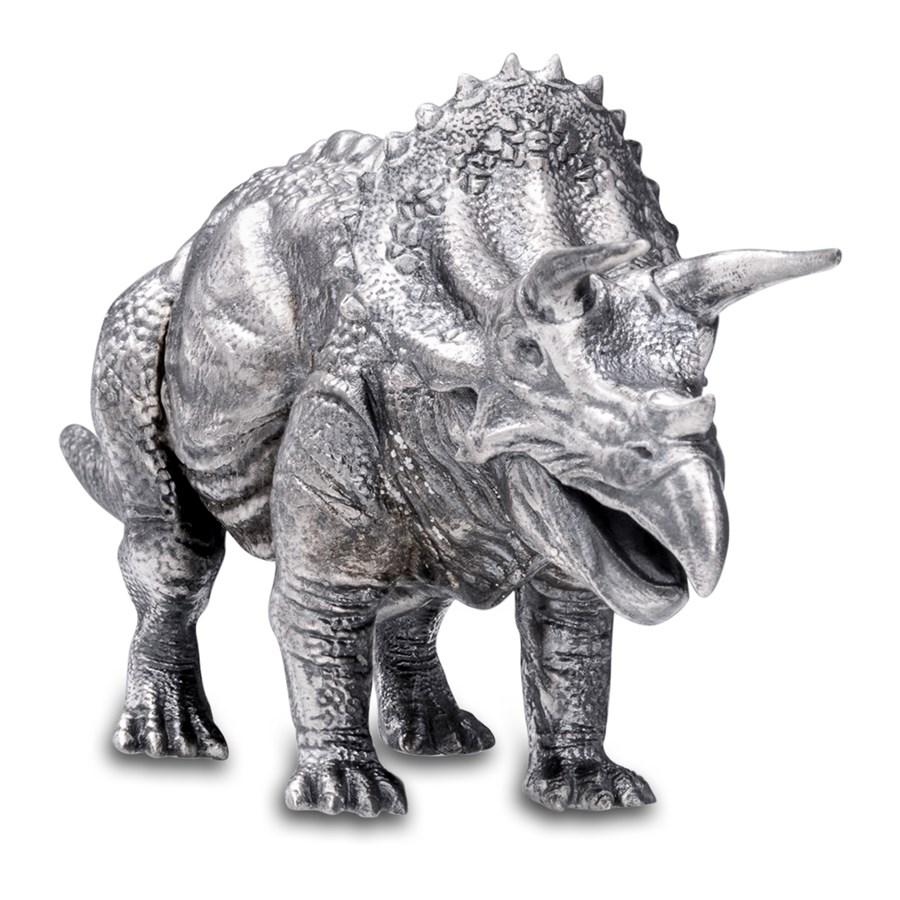 8 Oz Silver Antique Statue Triceratops Silver