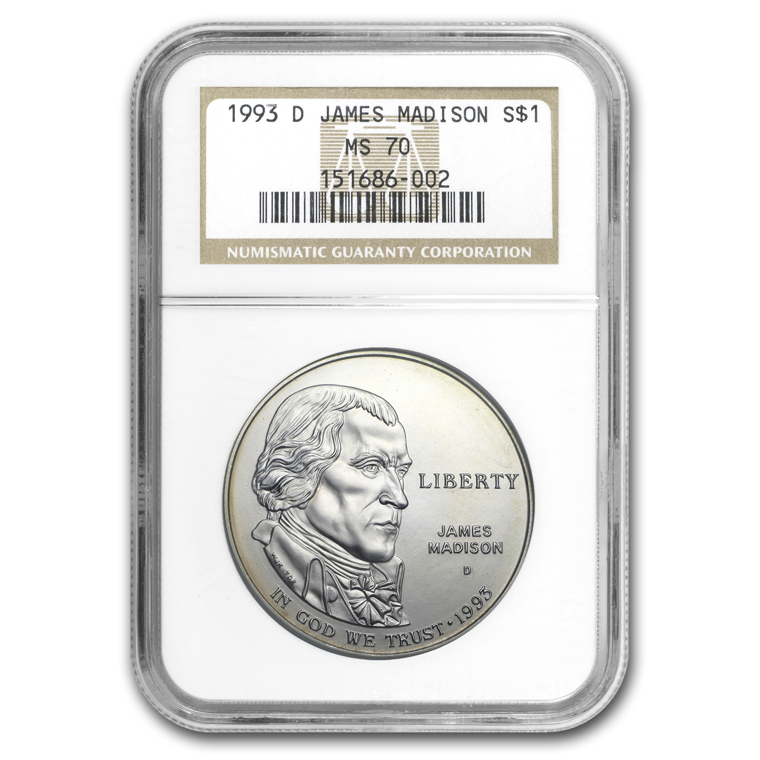 1993-D Bill of Rights Madison $1 Silver Commem MS-70 NGC