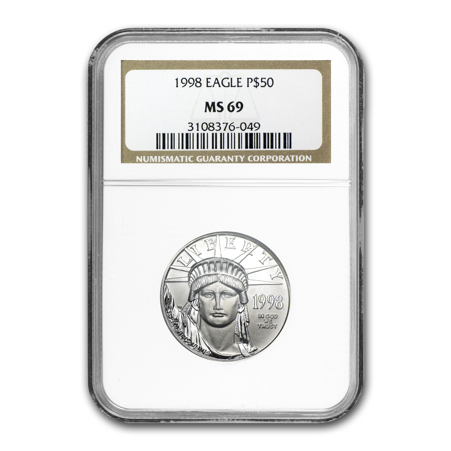 1998 1/2 oz Platinum American Eagle MS-69 NGC