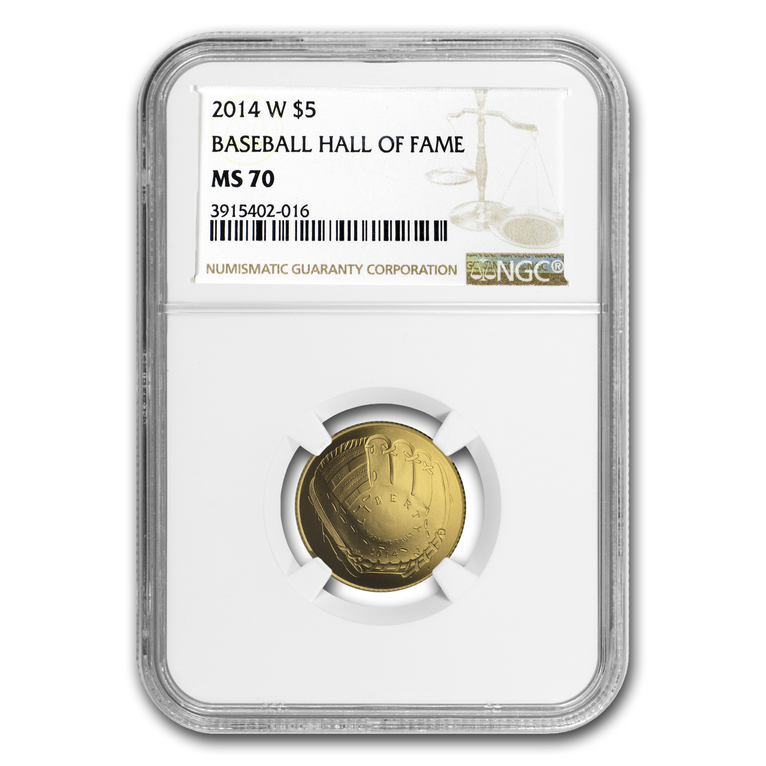 2014-W Gold $5 Commem HOF MS-70 NGC