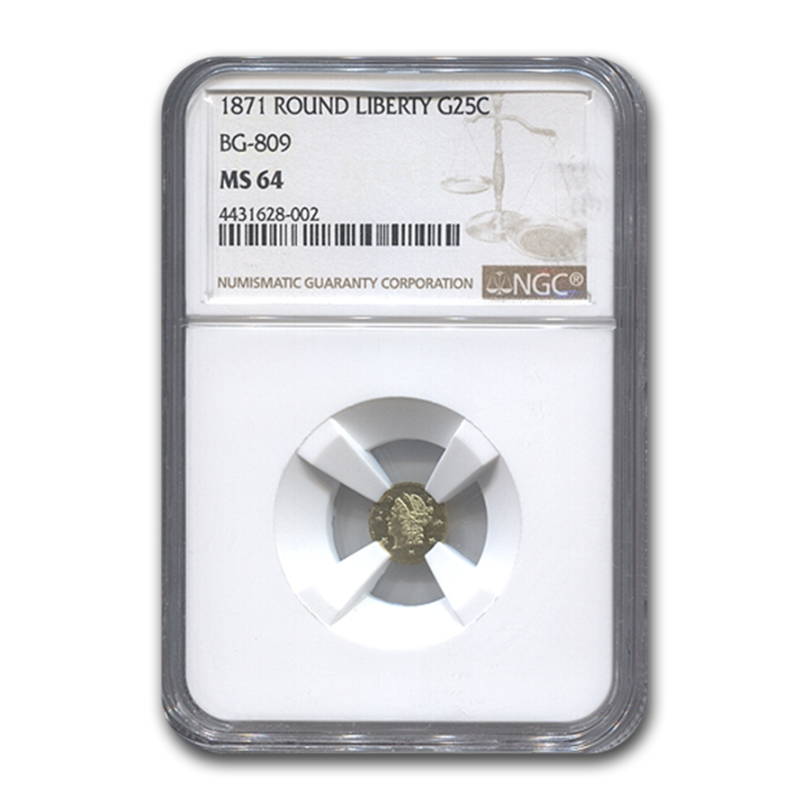 1871 Liberty Round 25¢ Gold MS-64 NGC (BG-809)