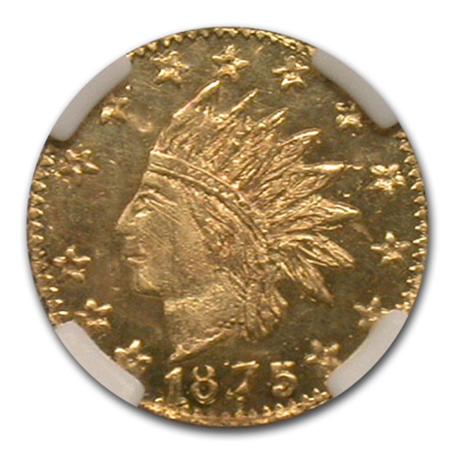 1875 Indian Round 25¢ Gold MS-64 NGC (PL, BG-847)