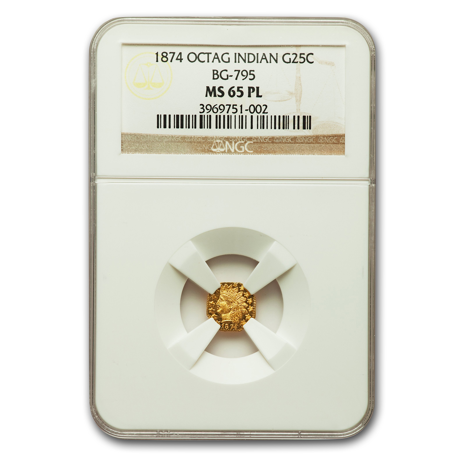 1874 Indian Octagonal 25¢ Gold MS-65 NGC (PL, BG-795)