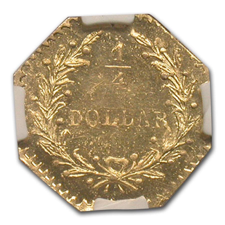 1880 Indian Octagonal 25¢ Gold MS-65 NGC (PL, BG-799J)