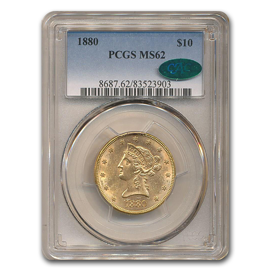1880 $10 Liberty Gold Eagle MS-62 PCGS CAC