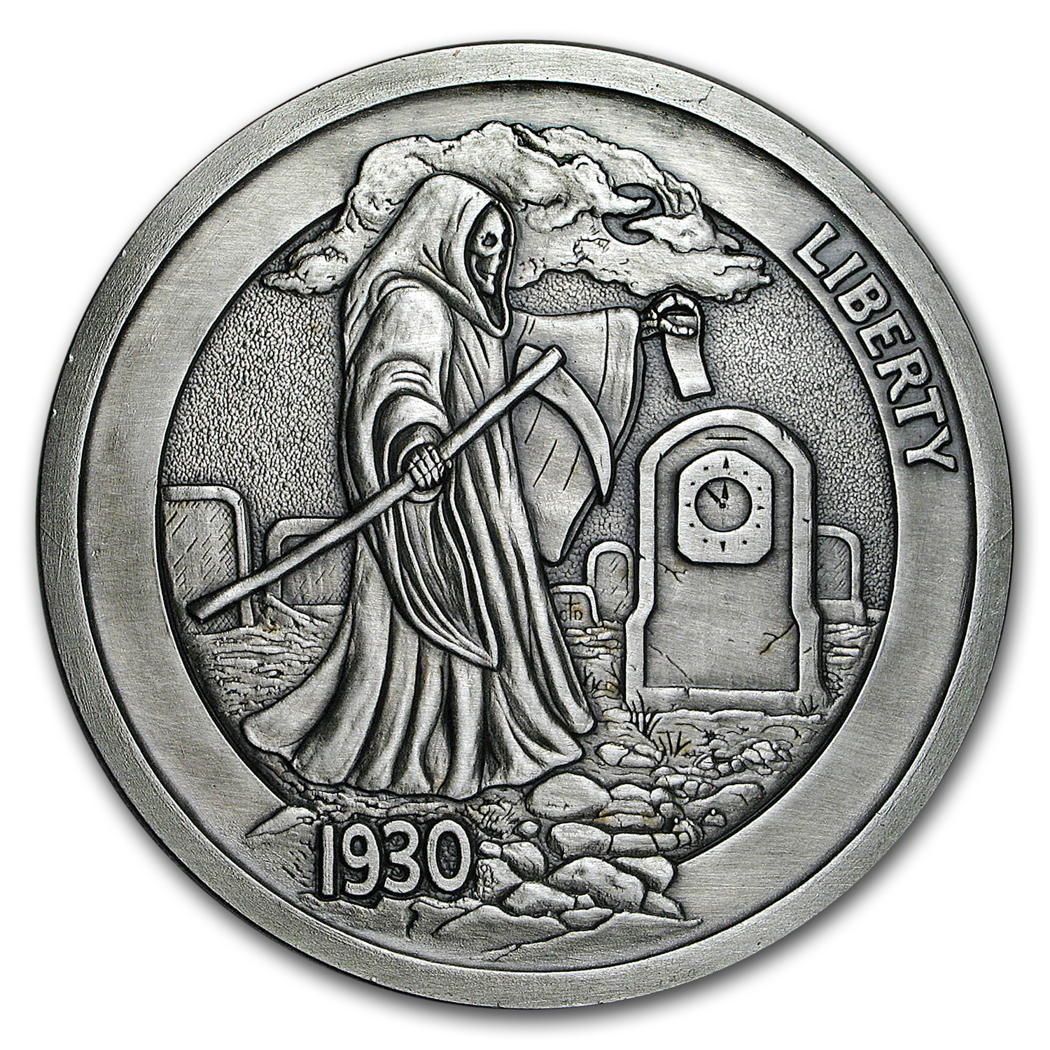 5 oz Silver Antique Hobo Nickel (Graveyard Shift)