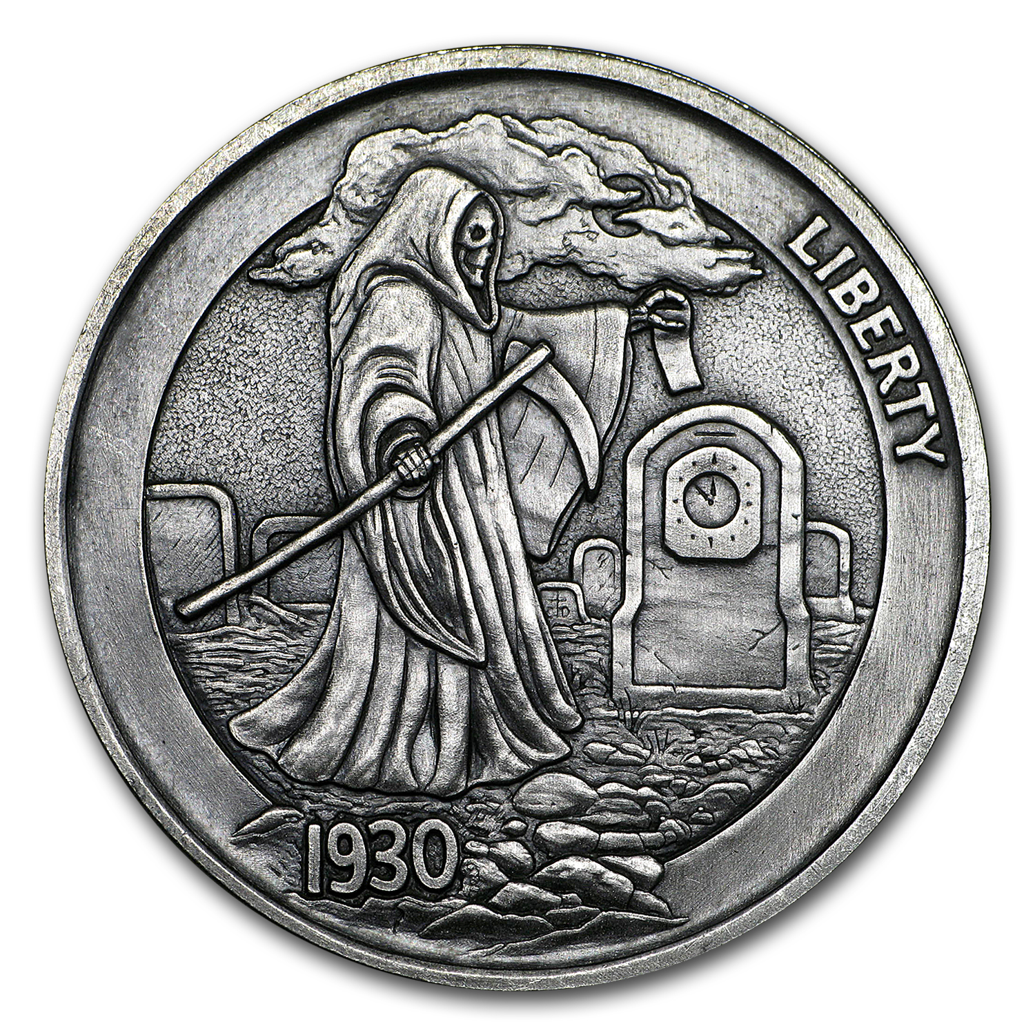 1 oz Silver Antique Hobo Nickel (Graveyard Shift)
