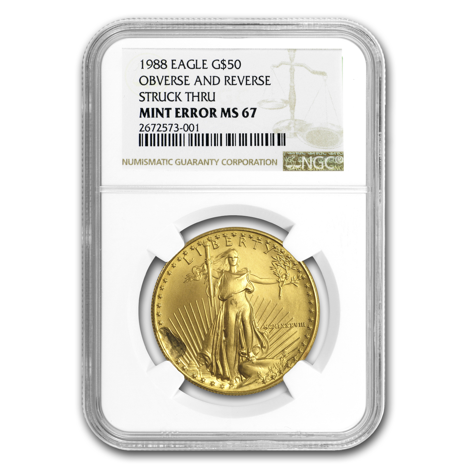 1988 1 oz Gold American Eagle MS-67 NGC (Obv Mint Error)
