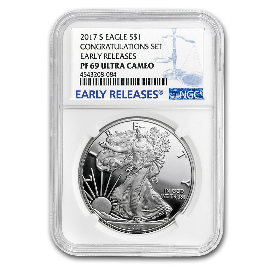 2017 S Proof Silver American Eagle Pf 69 Ngc Early