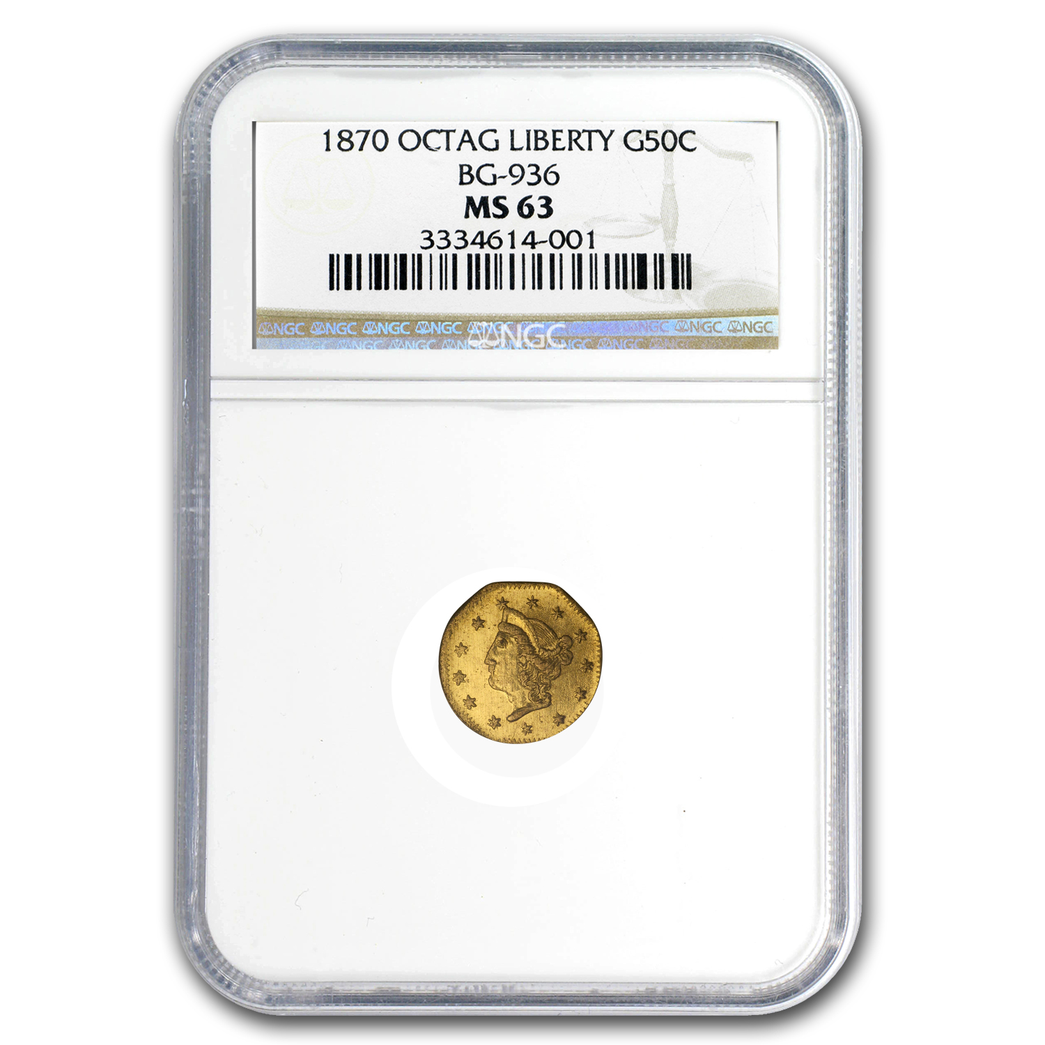 1870 BG-936 Liberty Octagonal 50 Cent Gold MS-63 NGC