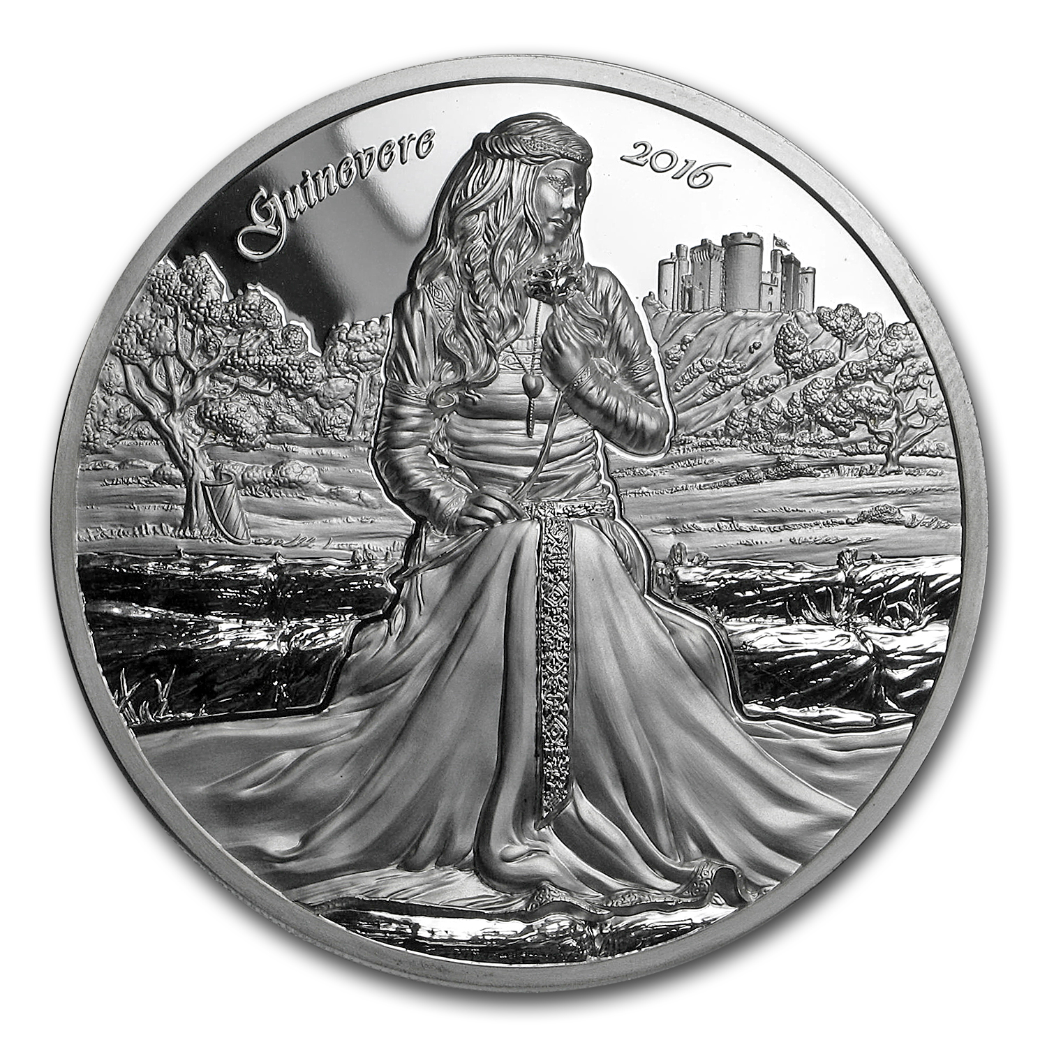 2016 Cook Islands 2 oz Silver Ultra High Relief Lady Guinevere