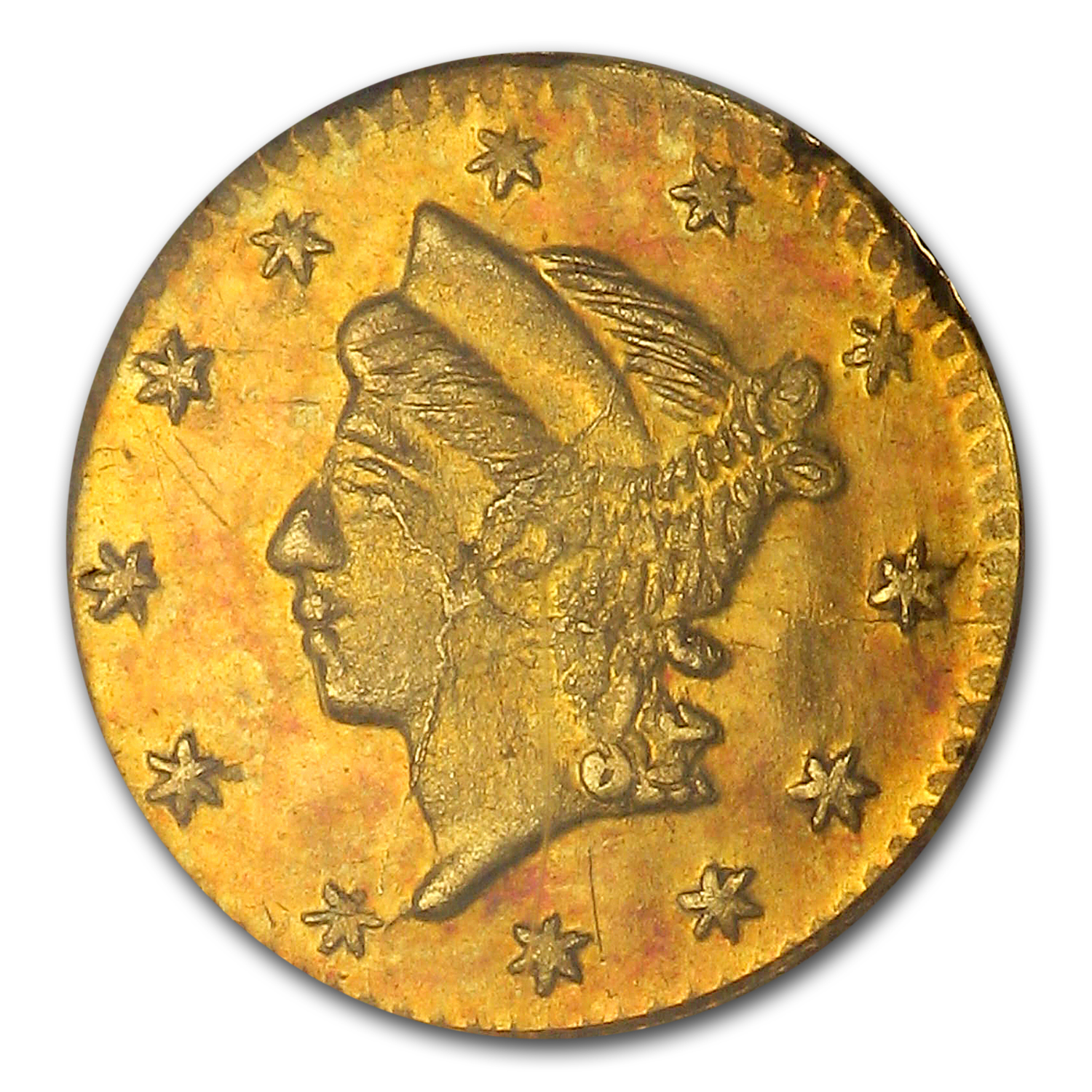 1860/50 BG-819 Liberty Round 25¢ Gold MS-62 NGC
